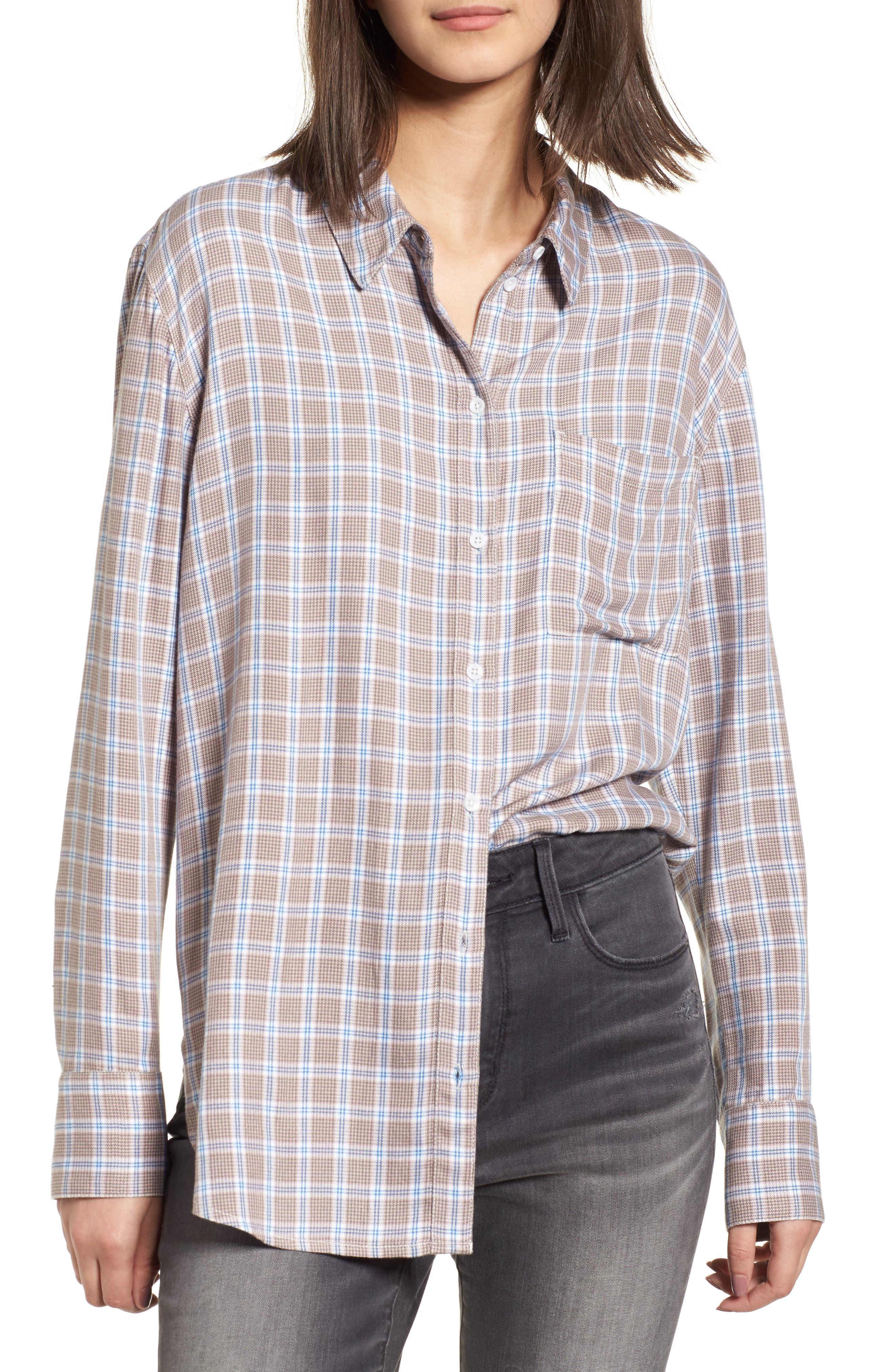 Plaid Boyfriend Shirt,                             Main thumbnail 4, color,