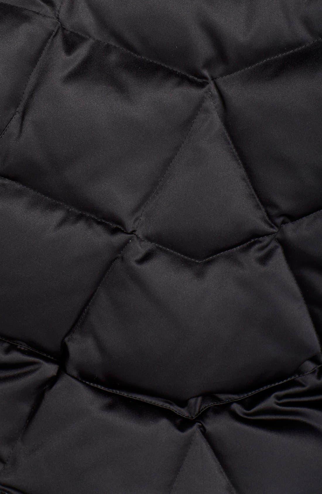 KRISTEN BLAKE,                             Hooded Diamond Quilted A-Line Down Coat,                             Alternate thumbnail 4, color,                             BLACK