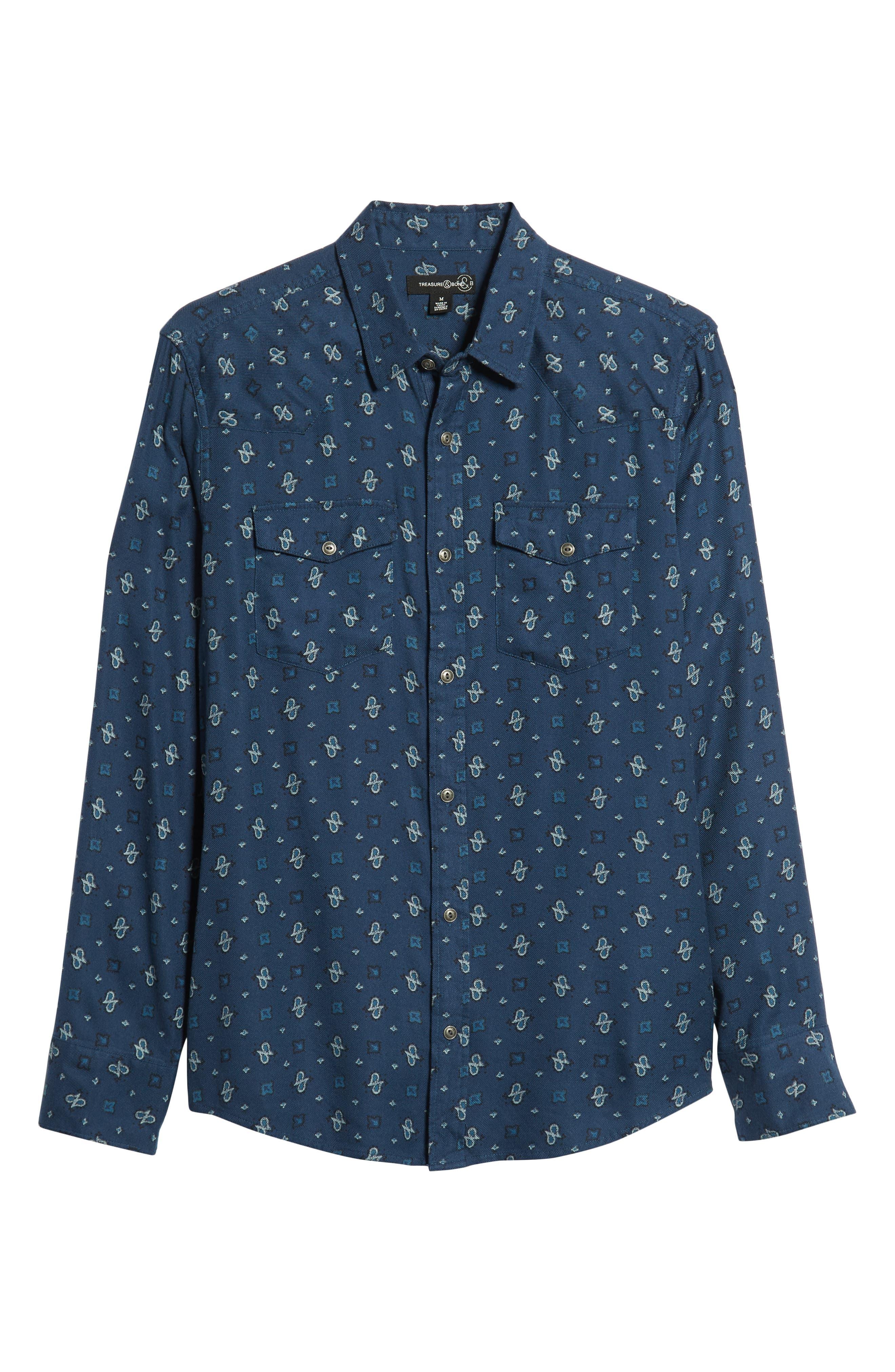 Regular Fit Paisley Western Shirt,                             Alternate thumbnail 5, color,                             BLUE CASPIA DESERT PAISLEY