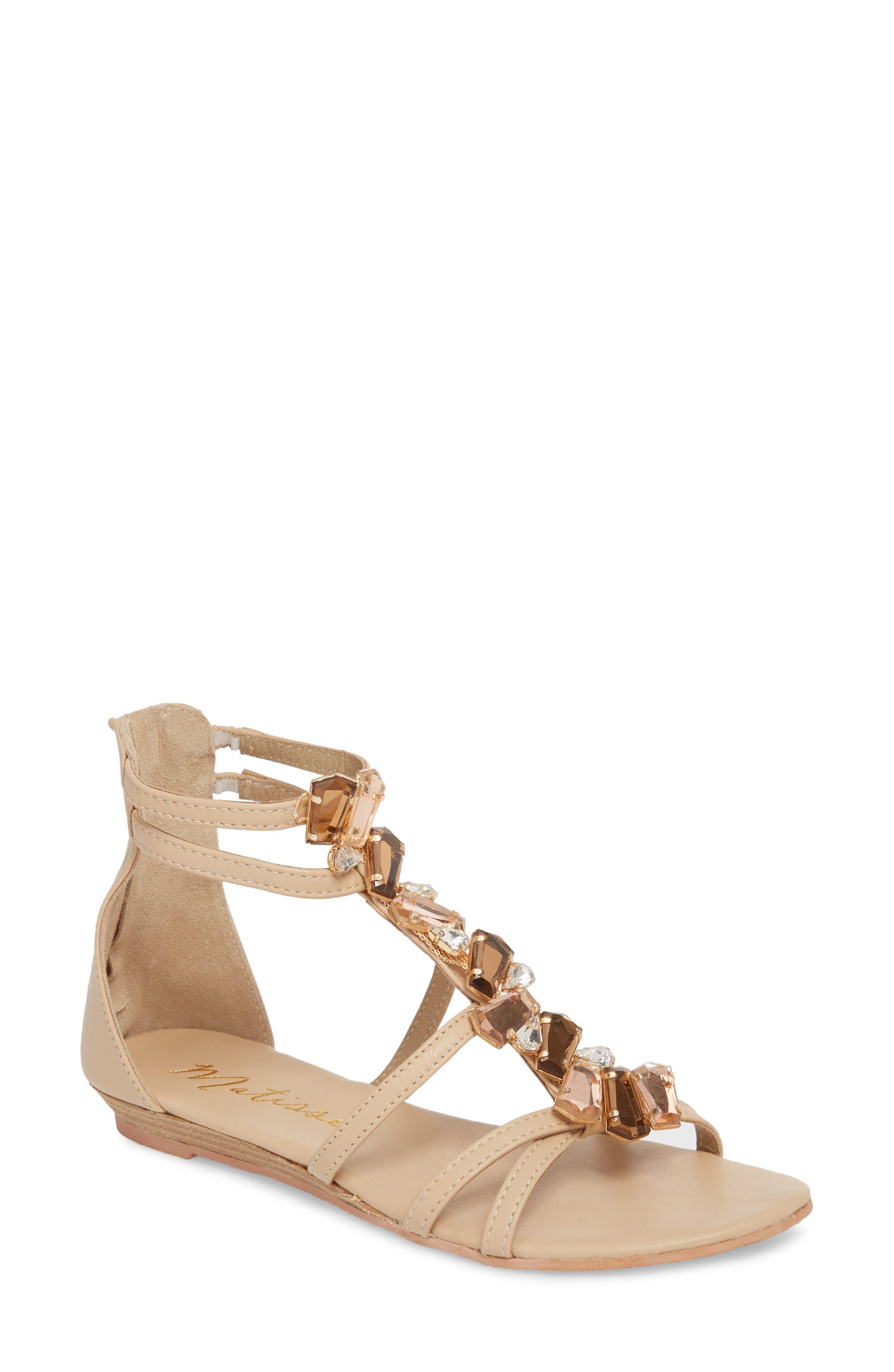 Didi Crystal Embellished Sandal,                         Main,                         color, NATURAL LEATHER