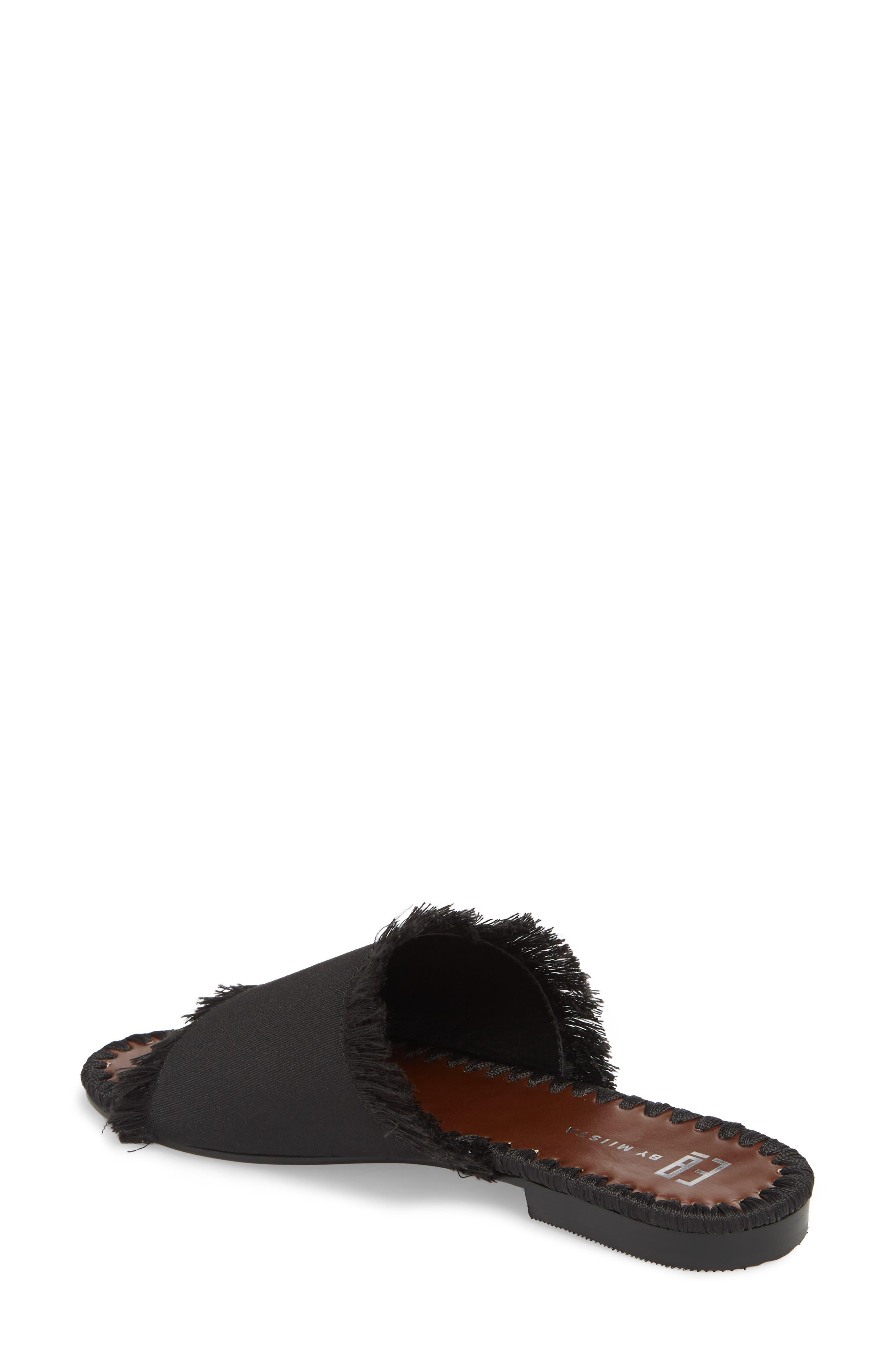 Tavie Fringed Slide Sandal,                             Alternate thumbnail 2, color,                             BLACK FABRIC