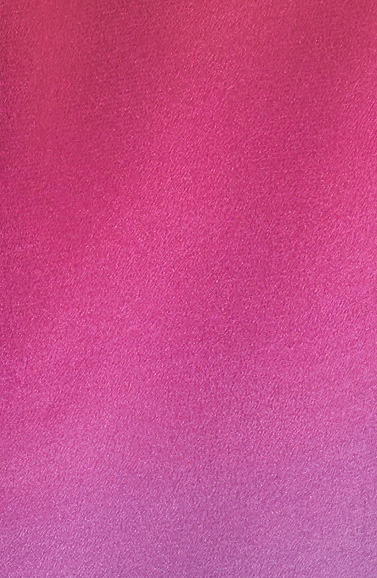 Twist Front Dégradé Silk Dress,                             Alternate thumbnail 5, color,                             DUSTY BLUE/ LIPSTICK