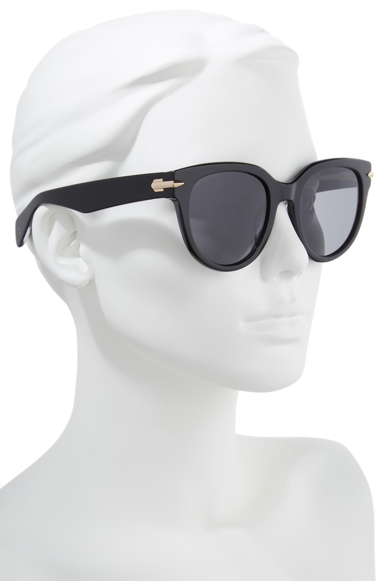 54mm Round Sunglasses,                             Alternate thumbnail 2, color,                             BLACK/ CRYSTAL