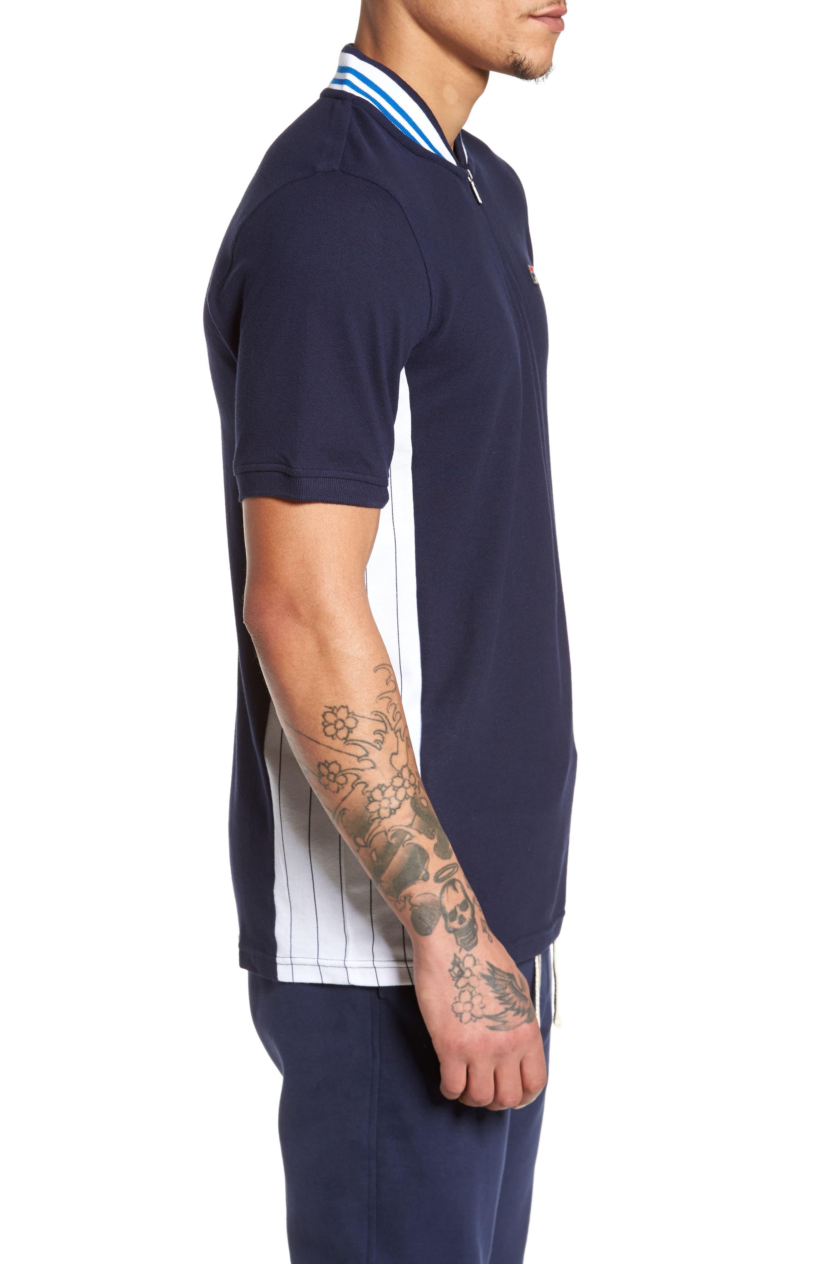 Moretti Short Sleeve Zip Henley Shirt,                             Alternate thumbnail 3, color,                             001