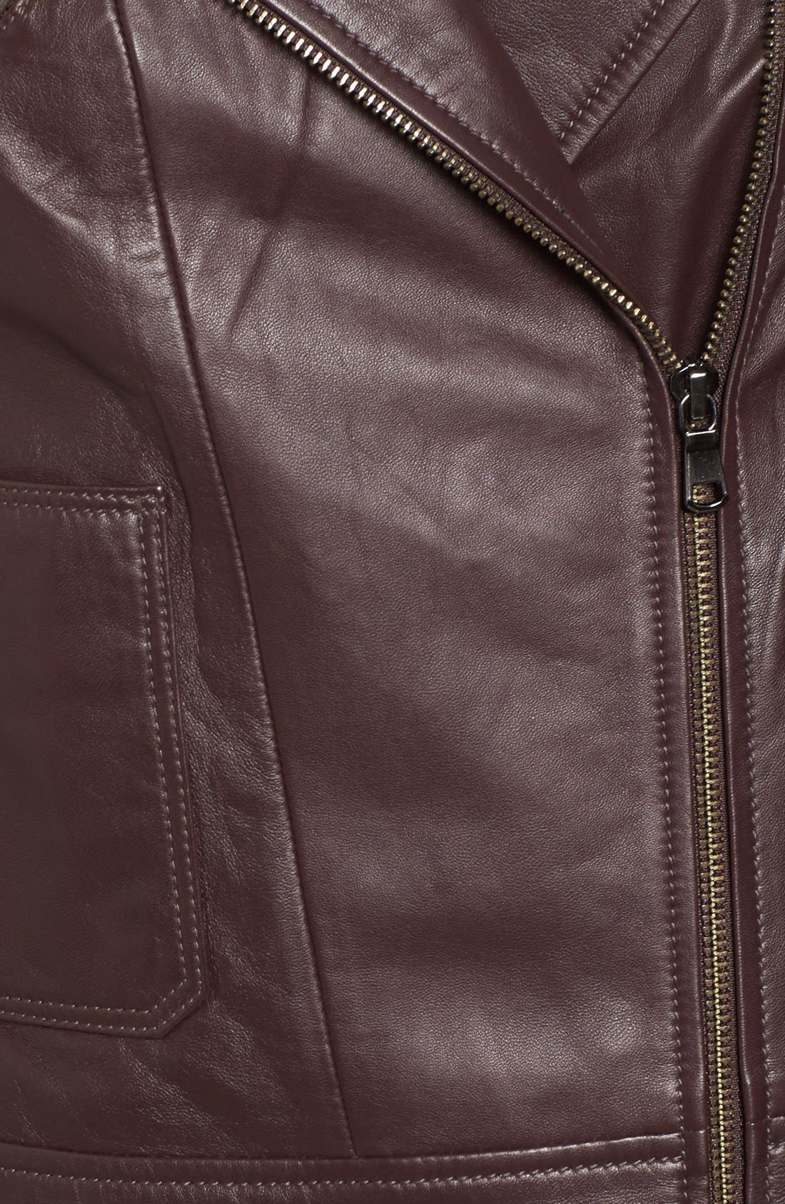 Leather Moto Jacket,                             Alternate thumbnail 6, color,                             201