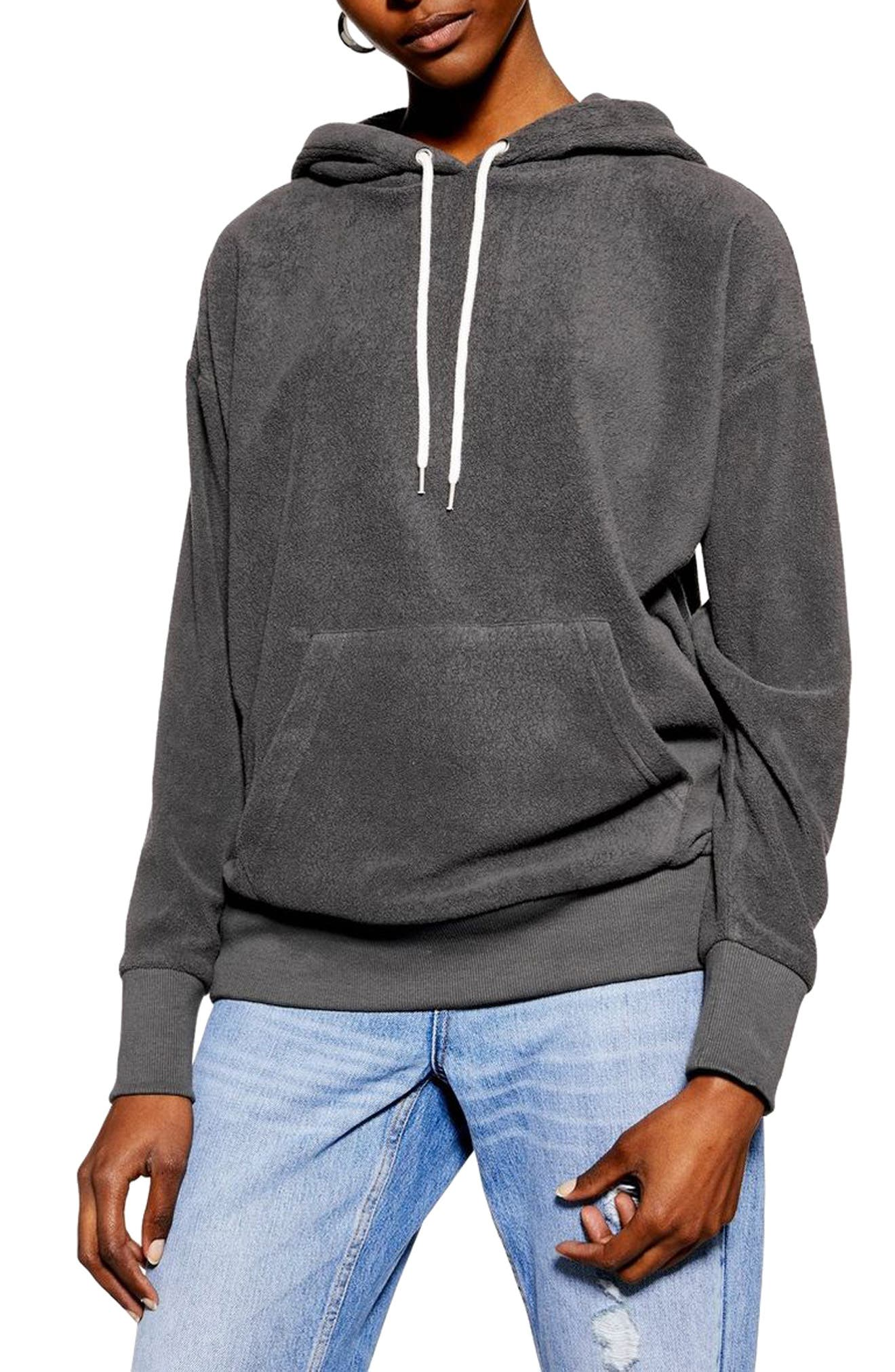 Bobbly Textured Hoodie, Main, color, CHARCOAL