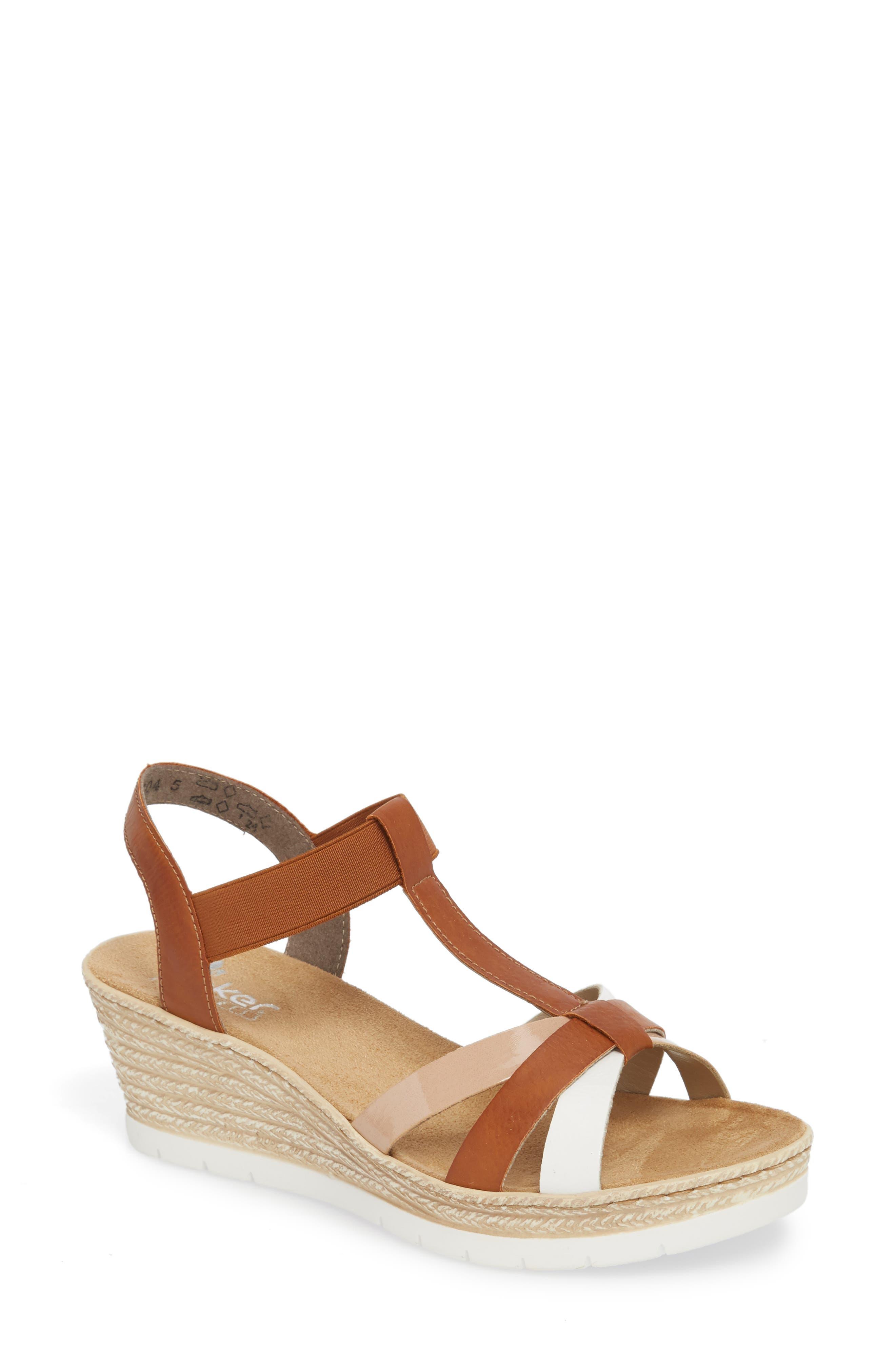 RIEKER ANTISTRESS Fanni 95 Espadrille Wedge Sandal, Main, color, BIANCO/ CAYENNE