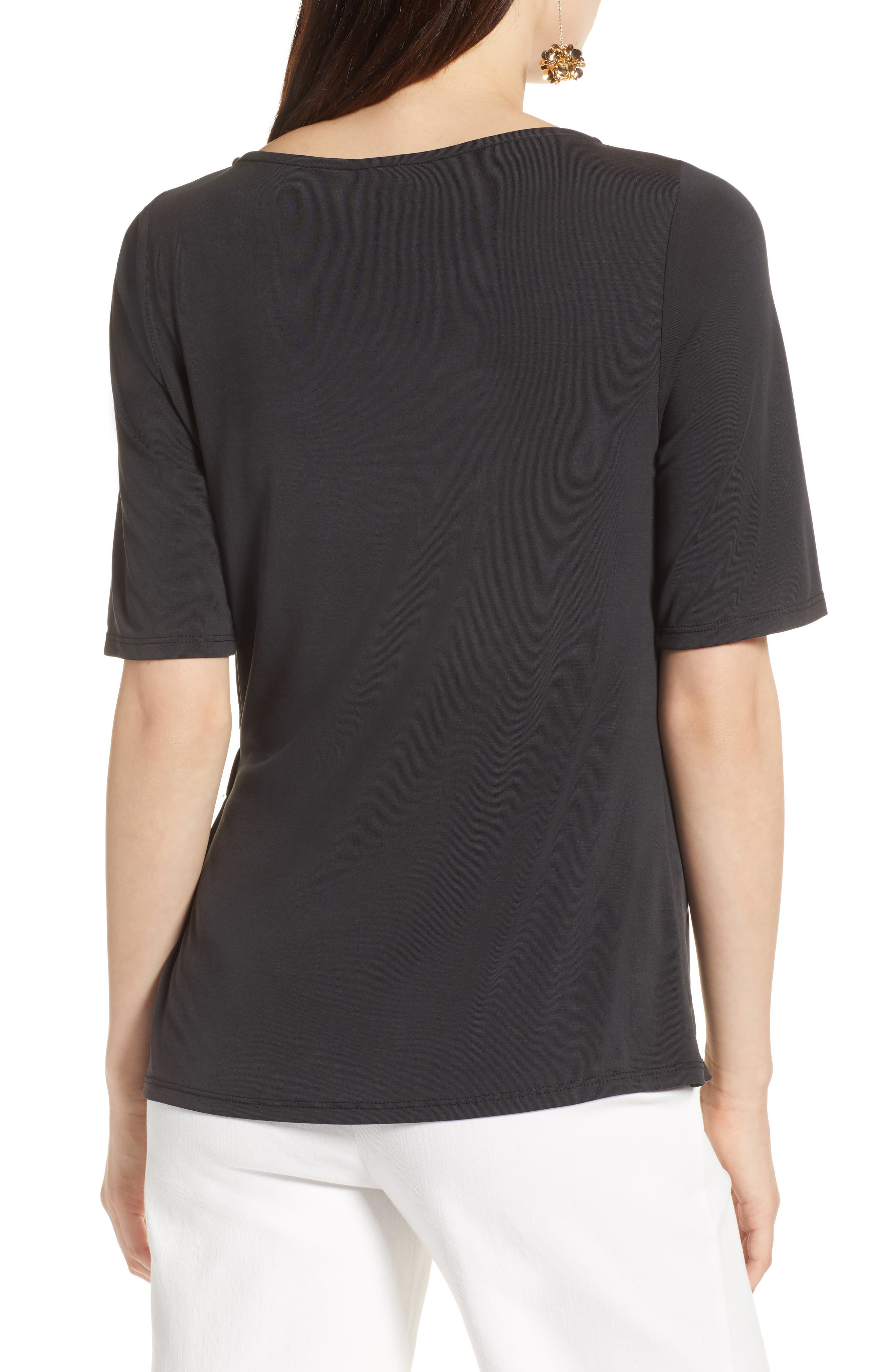 Ruched Waist Tee,                             Alternate thumbnail 2, color,                             001