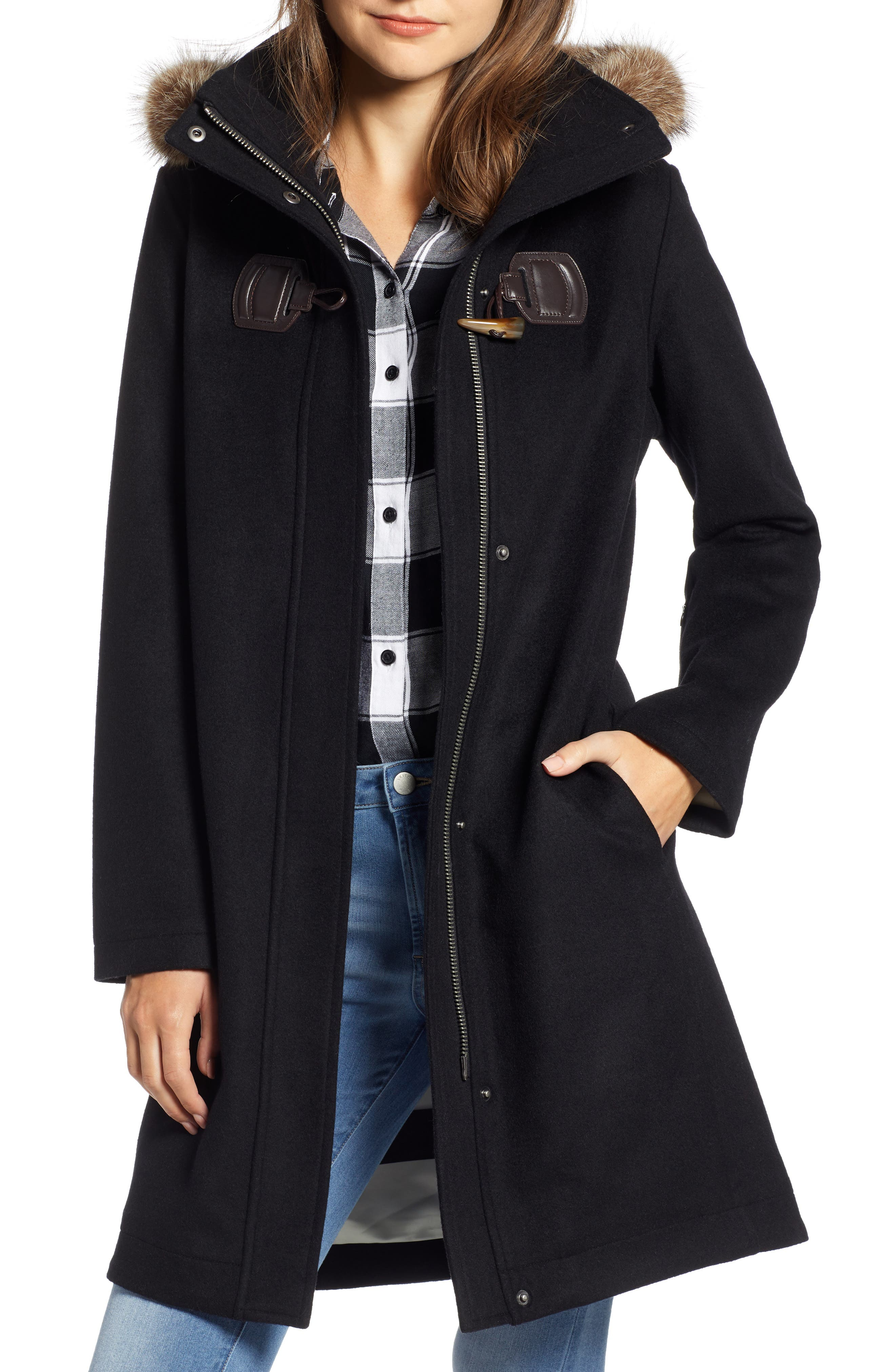 St Marie Wool Hooded Coat with Genuine Raccoon Fur Trim,                             Main thumbnail 1, color,                             BLACK