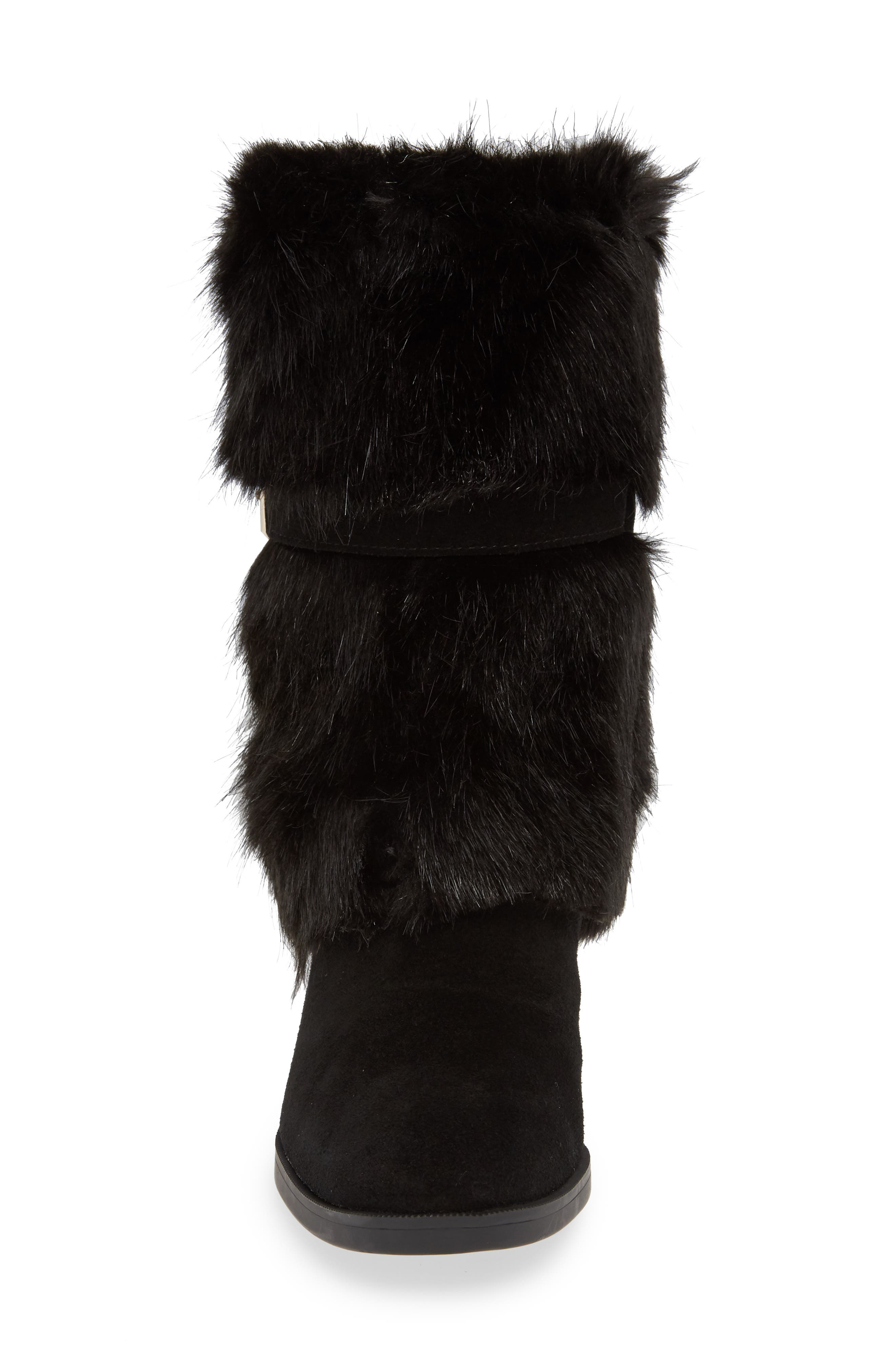 Giselle Water Resistant Faux Fur Boot,                             Alternate thumbnail 4, color,                             BLACK SUEDE