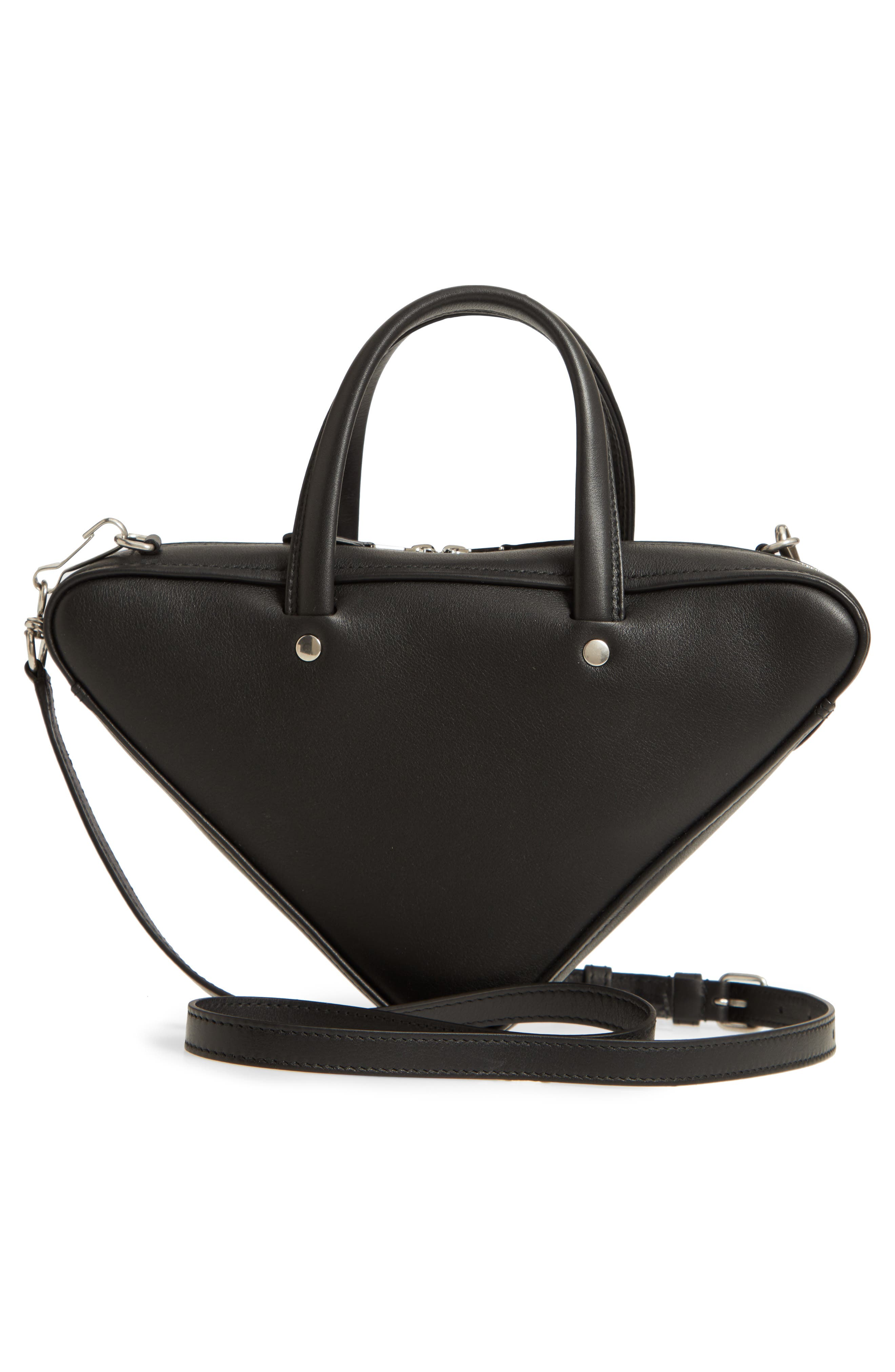 Extra Small Triangle Leather Bag,                             Alternate thumbnail 3, color,                             NOIR