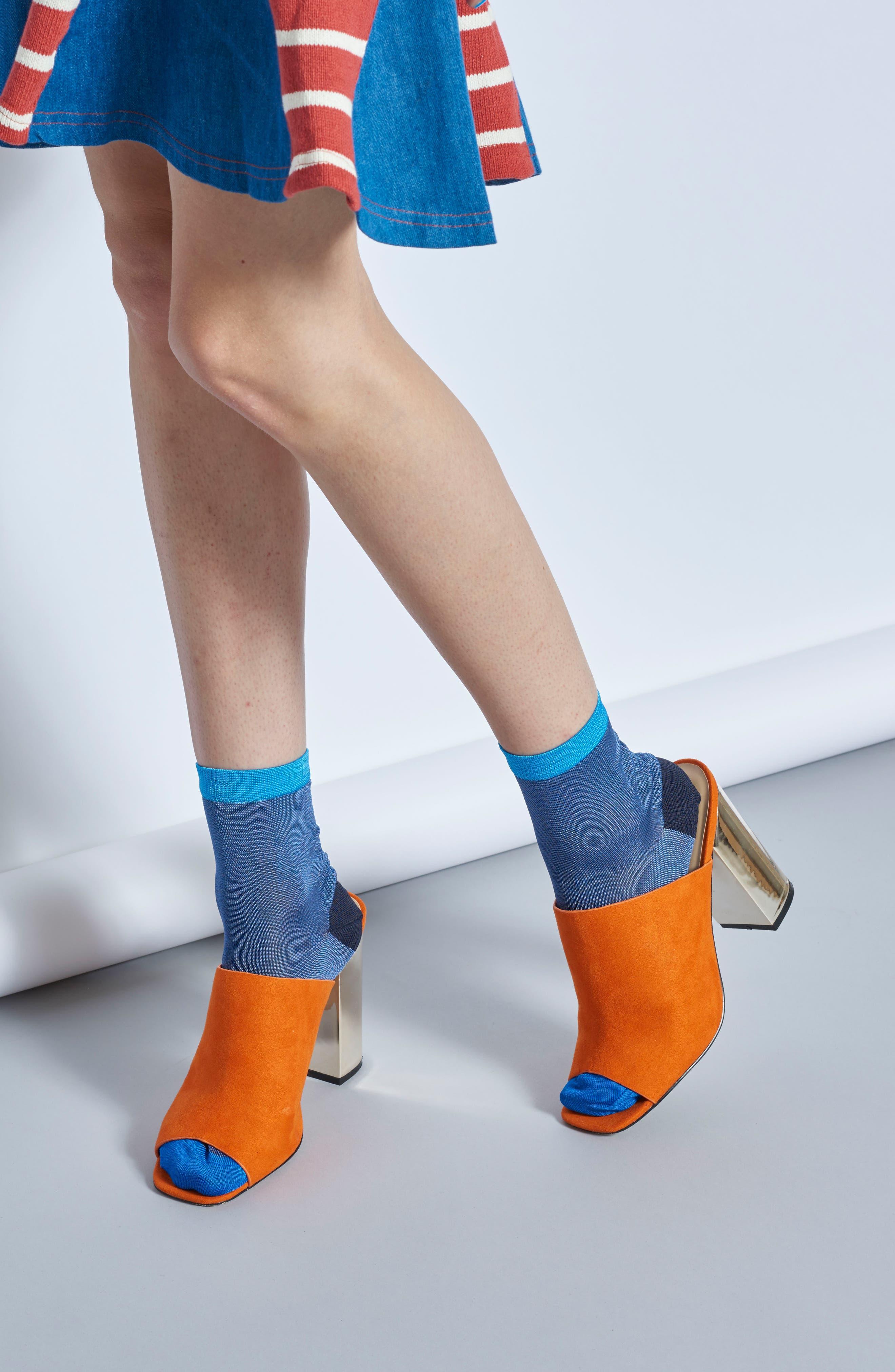 Grace Ankle Socks,                             Alternate thumbnail 4, color,                             BLUE