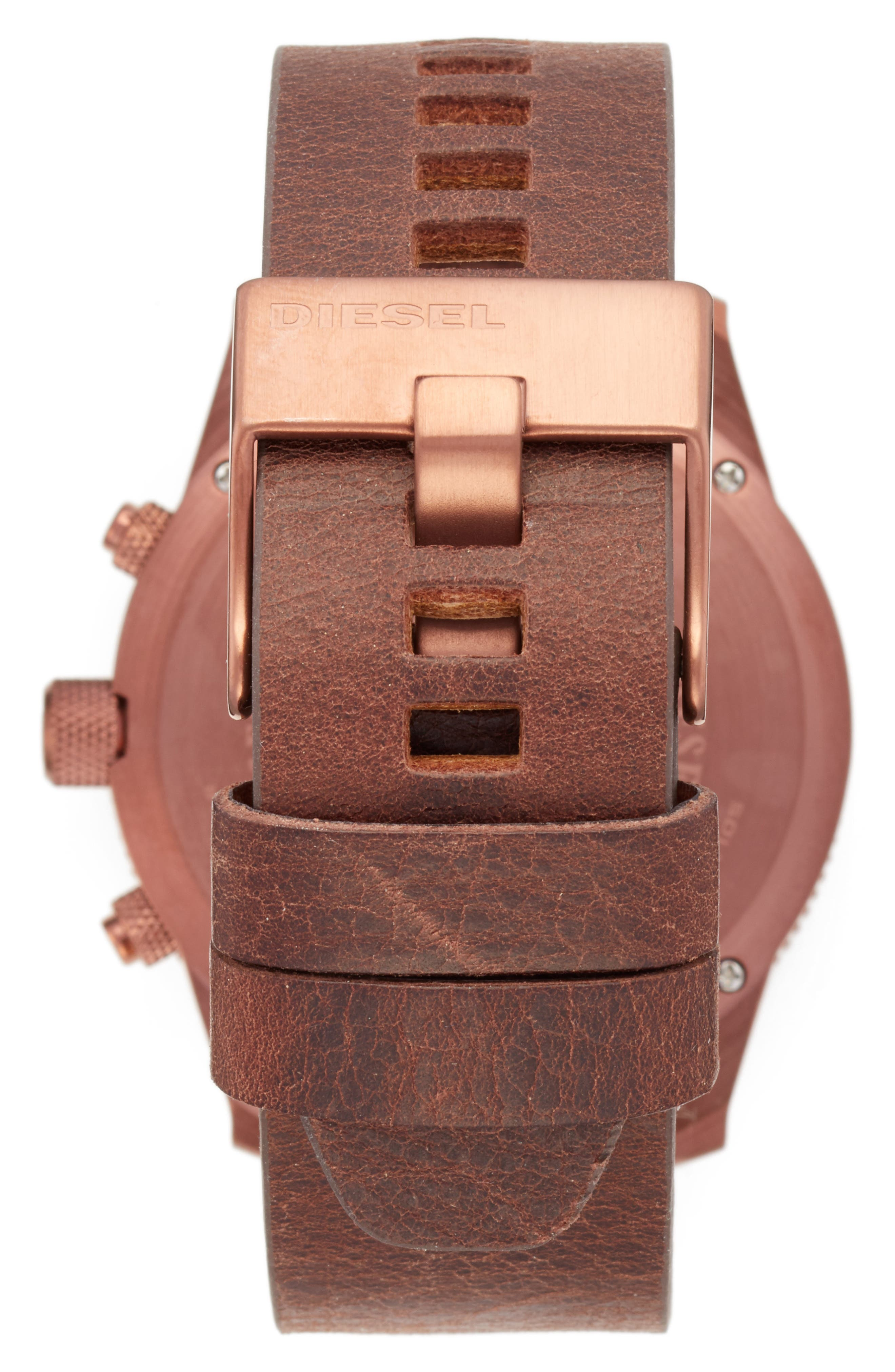 DIESEL<SUP>®</SUP>,                             Chronograph Leather Strap Watch, 45mm,                             Alternate thumbnail 2, color,                             200