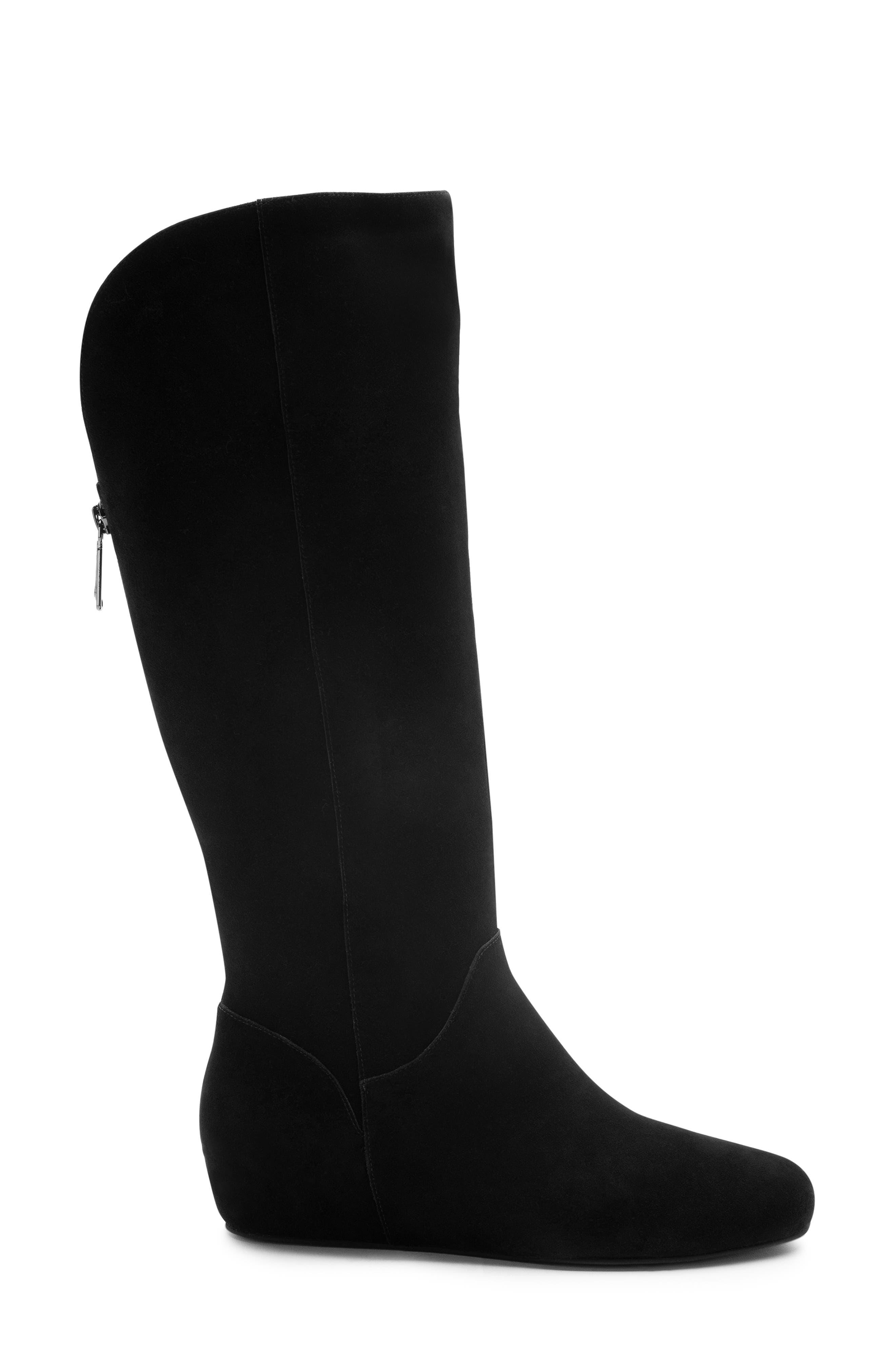 Mercy Waterproof Wedge Knee High Boot,                             Alternate thumbnail 3, color,                             BLACK SUEDE