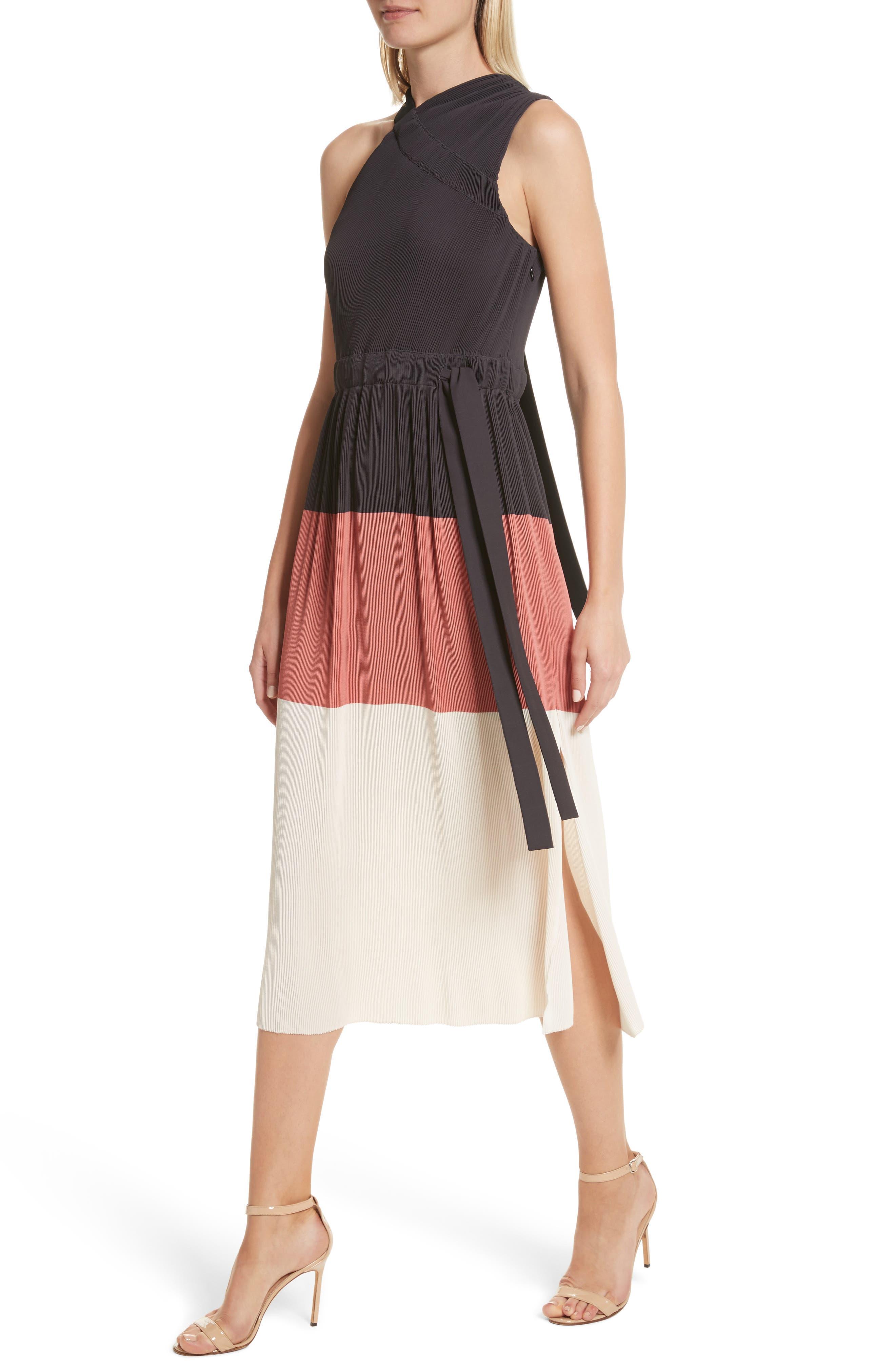 Colorblock Pleated Dress,                             Alternate thumbnail 4, color,                             007