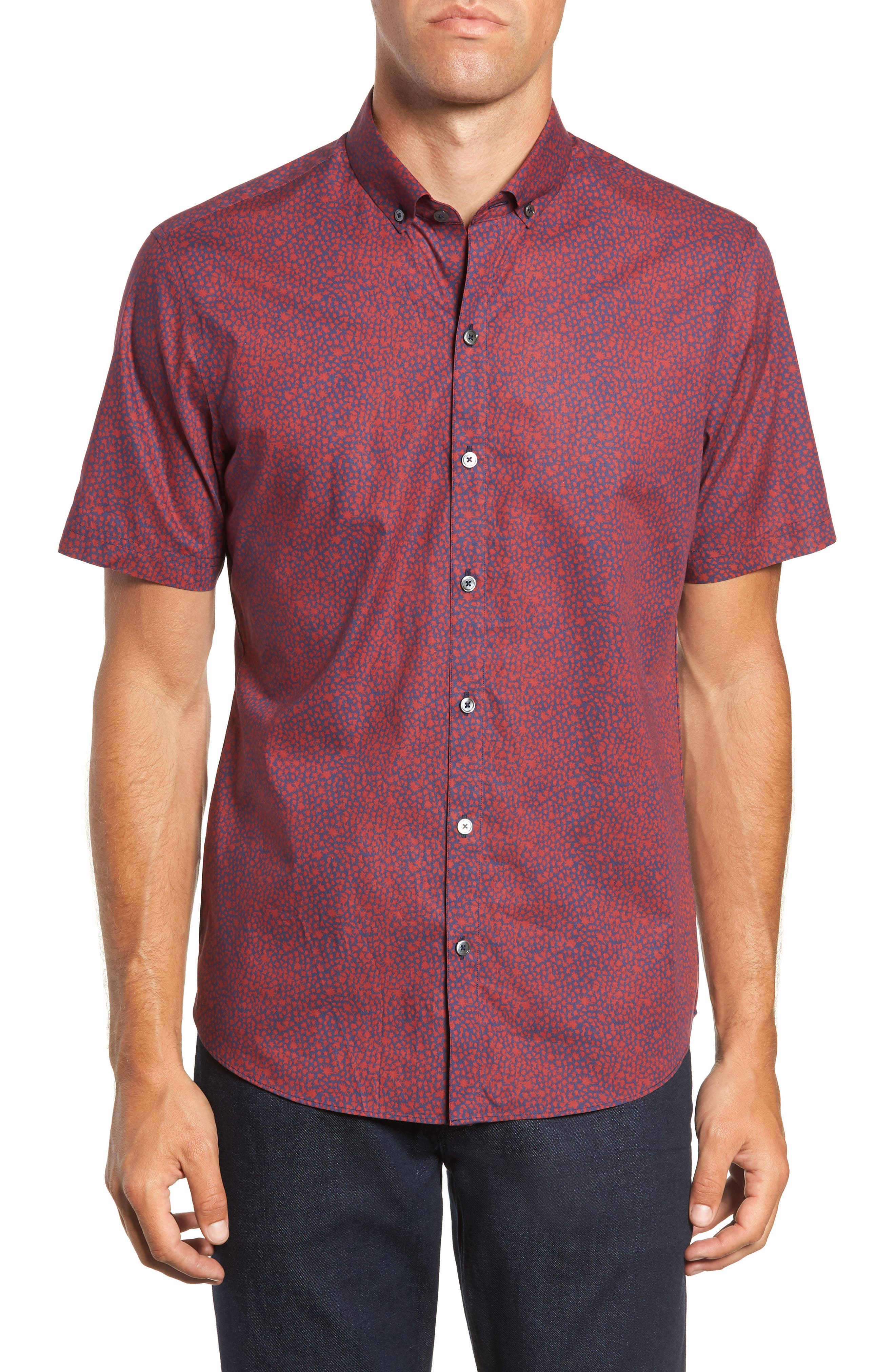 Lyons Print Sport Shirt,                         Main,                         color, RED