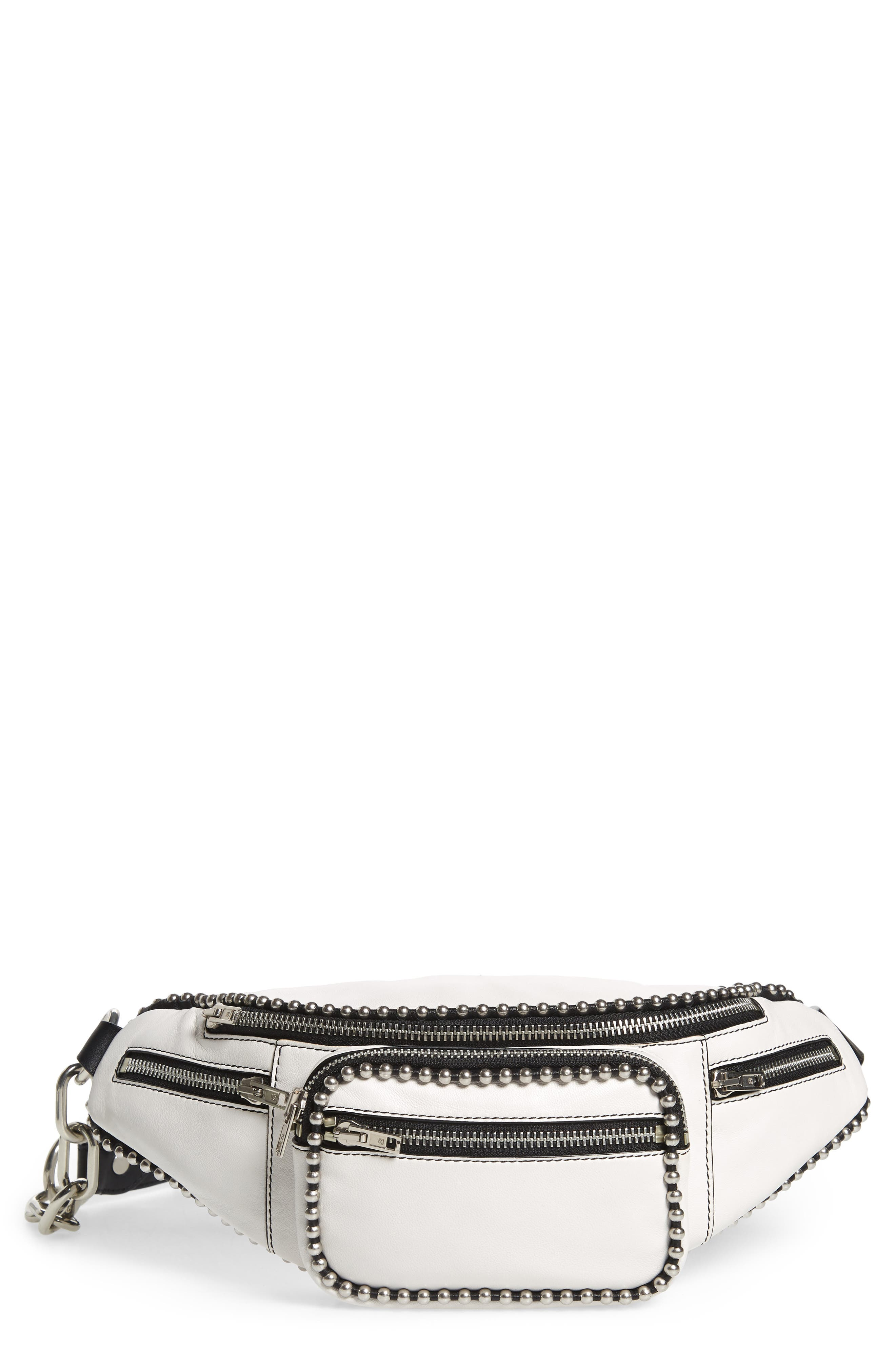 Attica Ball Chain Leather Belt Bag - White