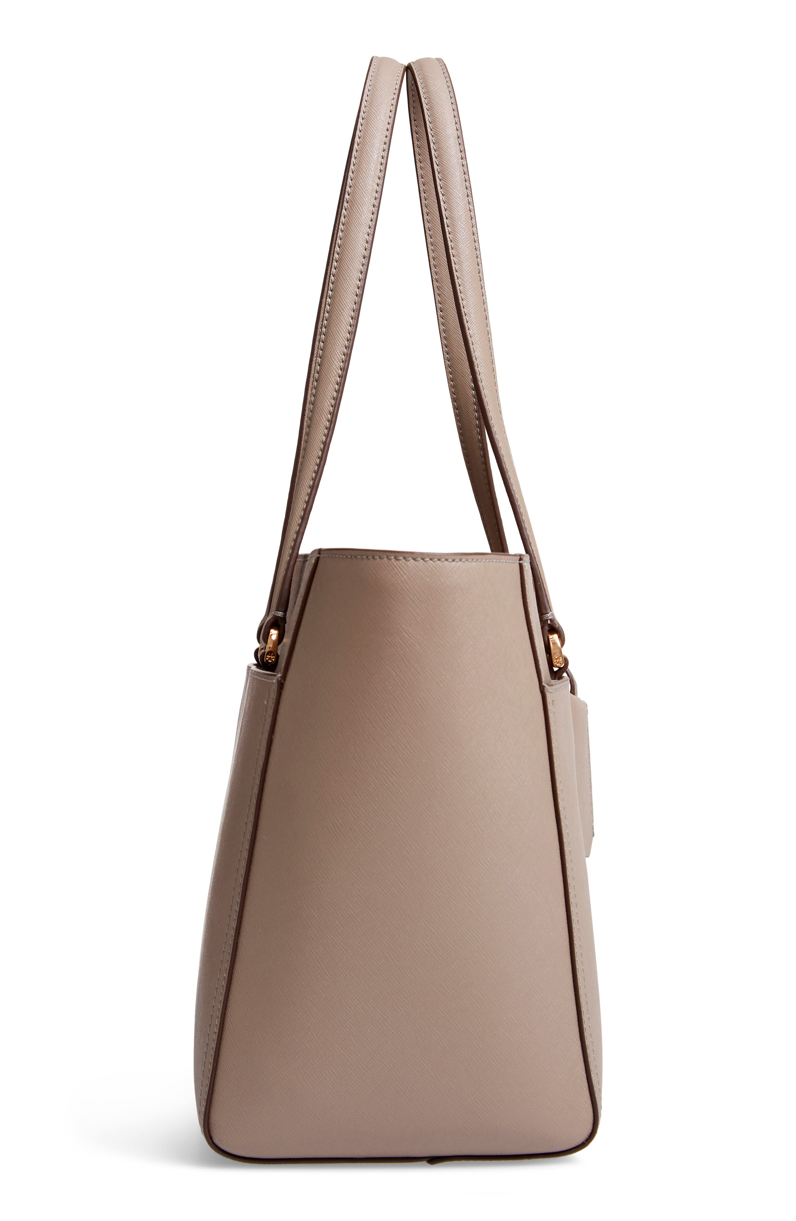Small Robinson Leather Tote,                             Alternate thumbnail 5, color,                             GRAY HERON