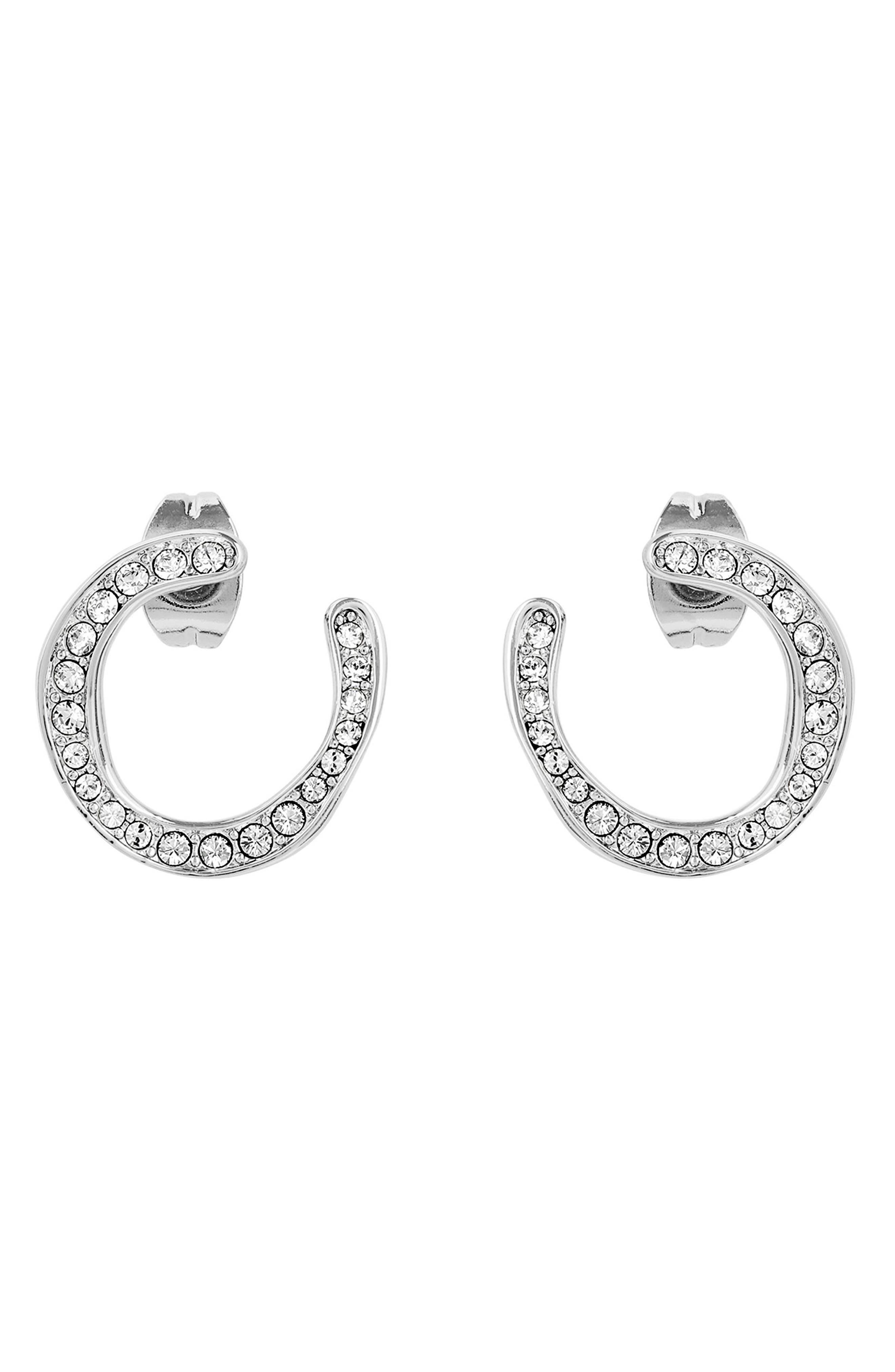 ADORE Organic Circle Hoop Rhinestone Earrings in Silver