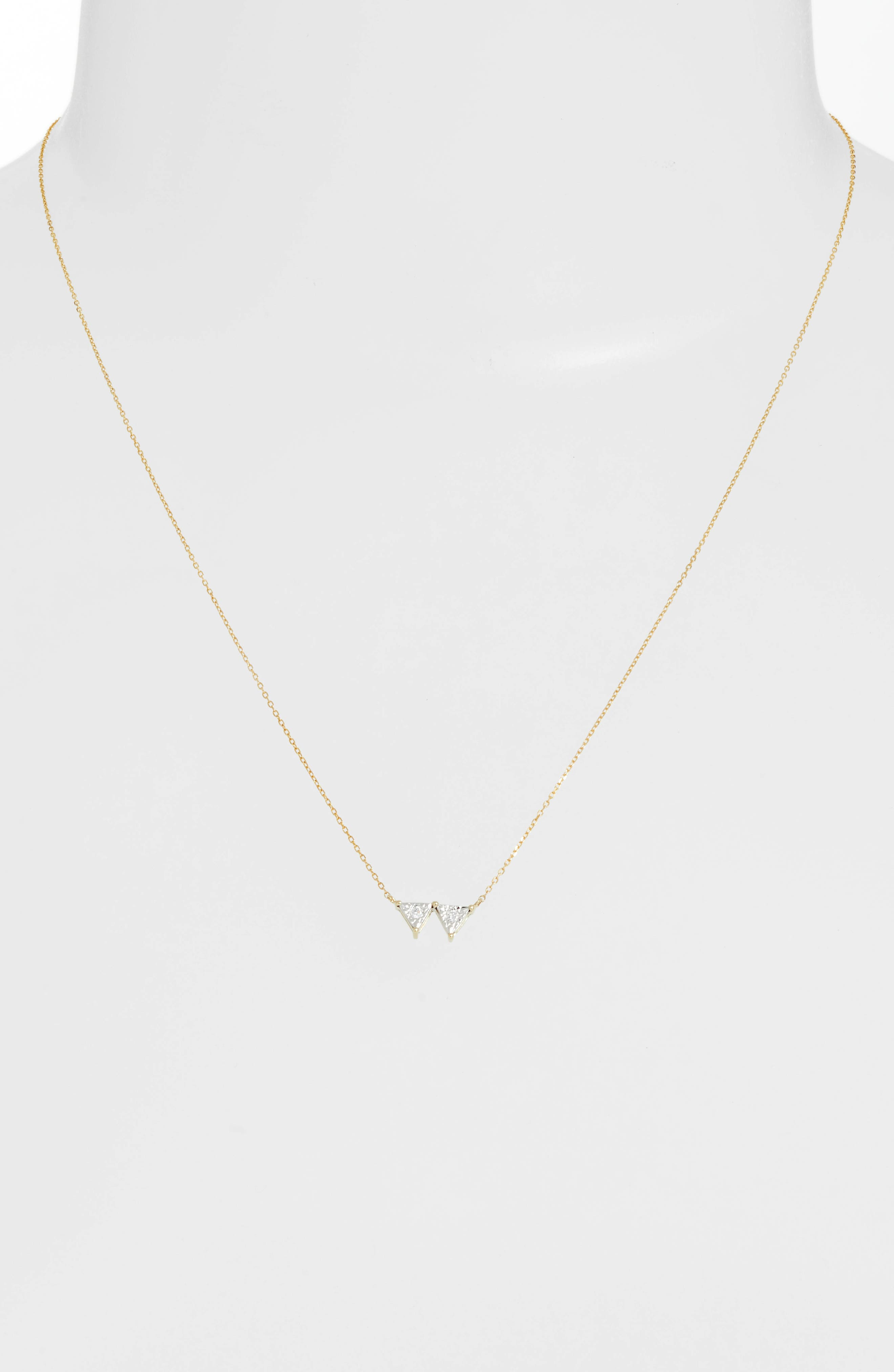 Emily Sarah Double Triangle Diamond Necklace,                             Alternate thumbnail 2, color,                             YELLOW GOLD
