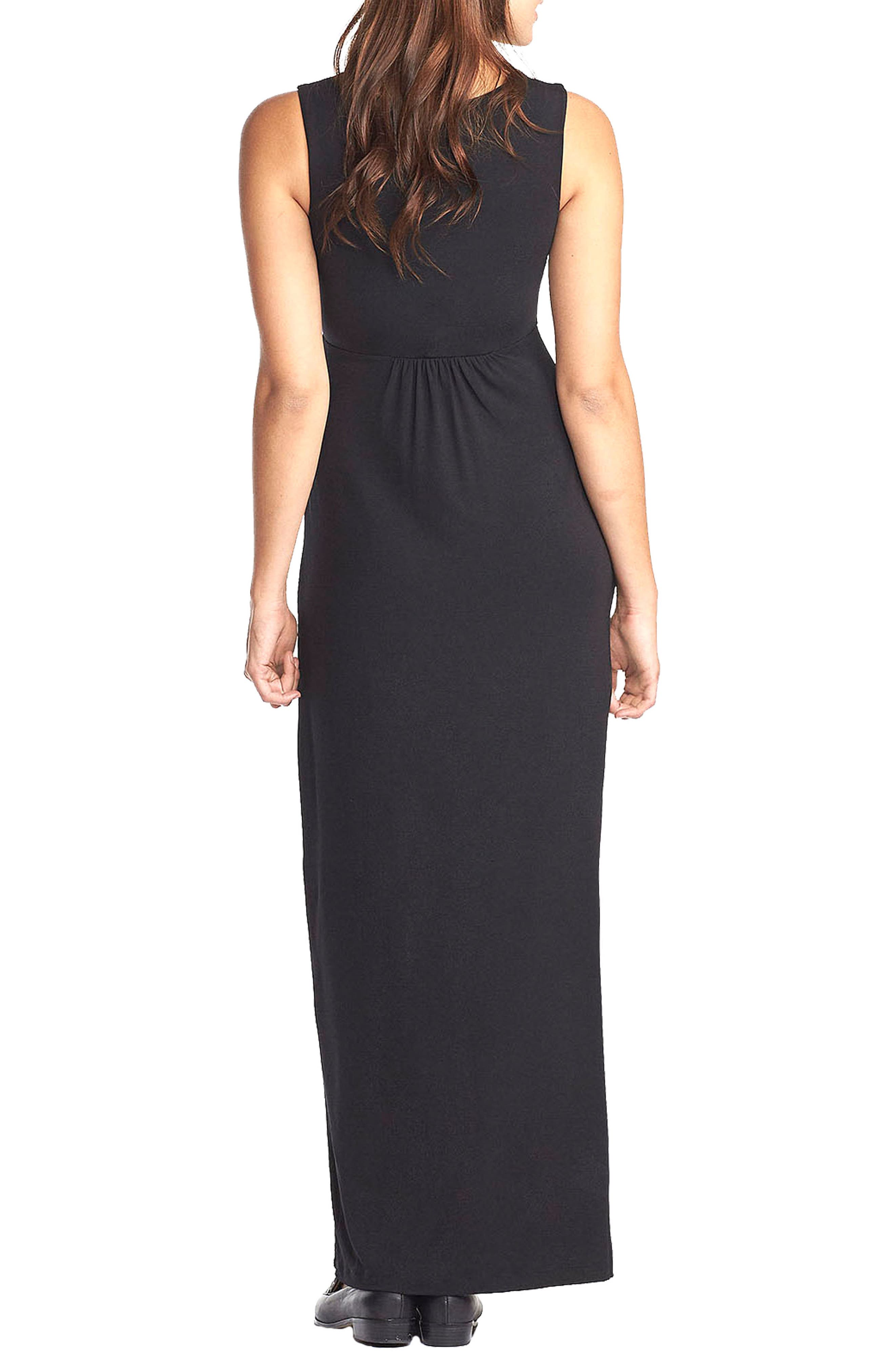 'Callie' Jersey Maxi Maternity Dress,                             Alternate thumbnail 2, color,                             BLACK