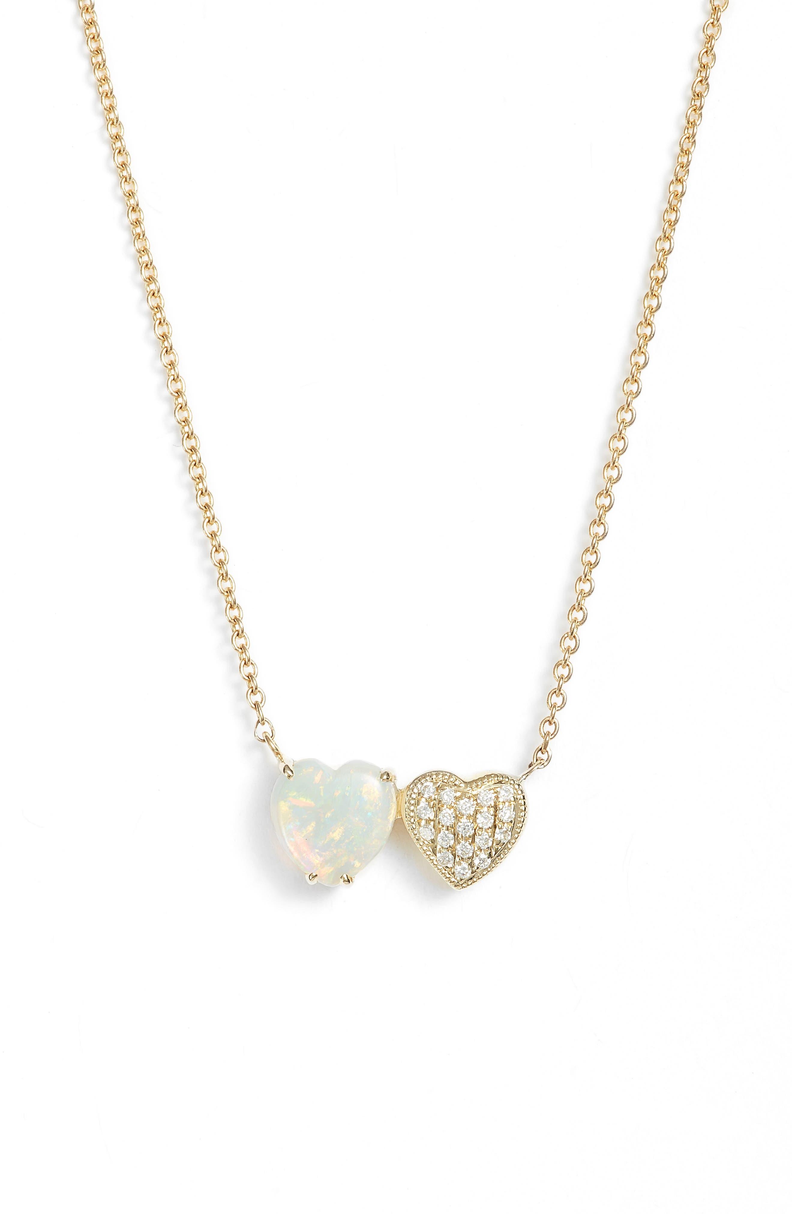 Semiprecious Stone & Diamond Pendant Necklace,                             Main thumbnail 1, color,                             YELLOW GOLD