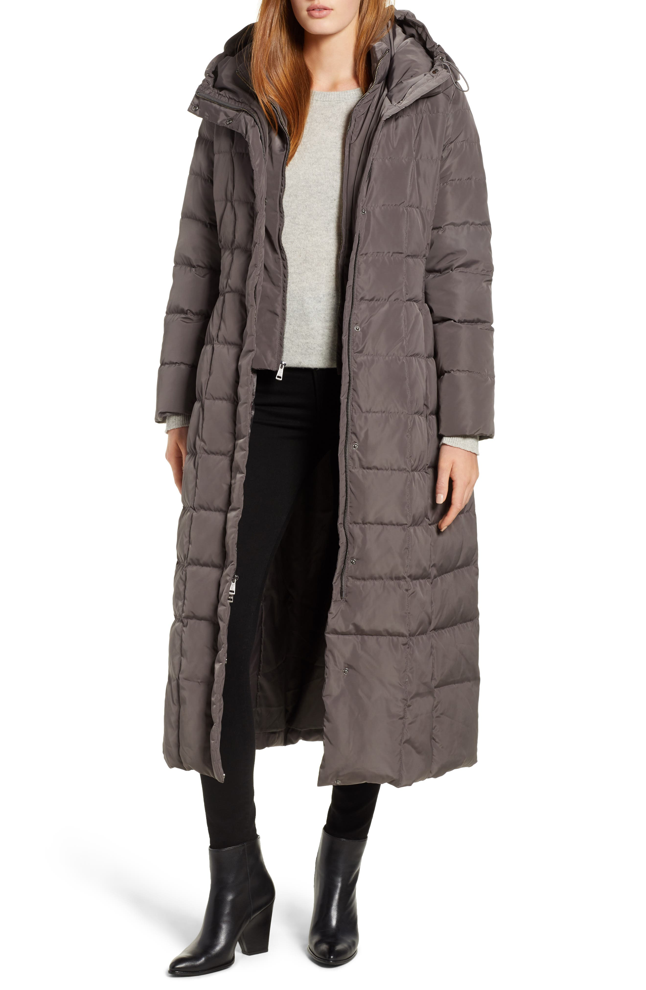 Cole Haan Quilted Coat with Inner Bib,                             Main thumbnail 1, color,                             024