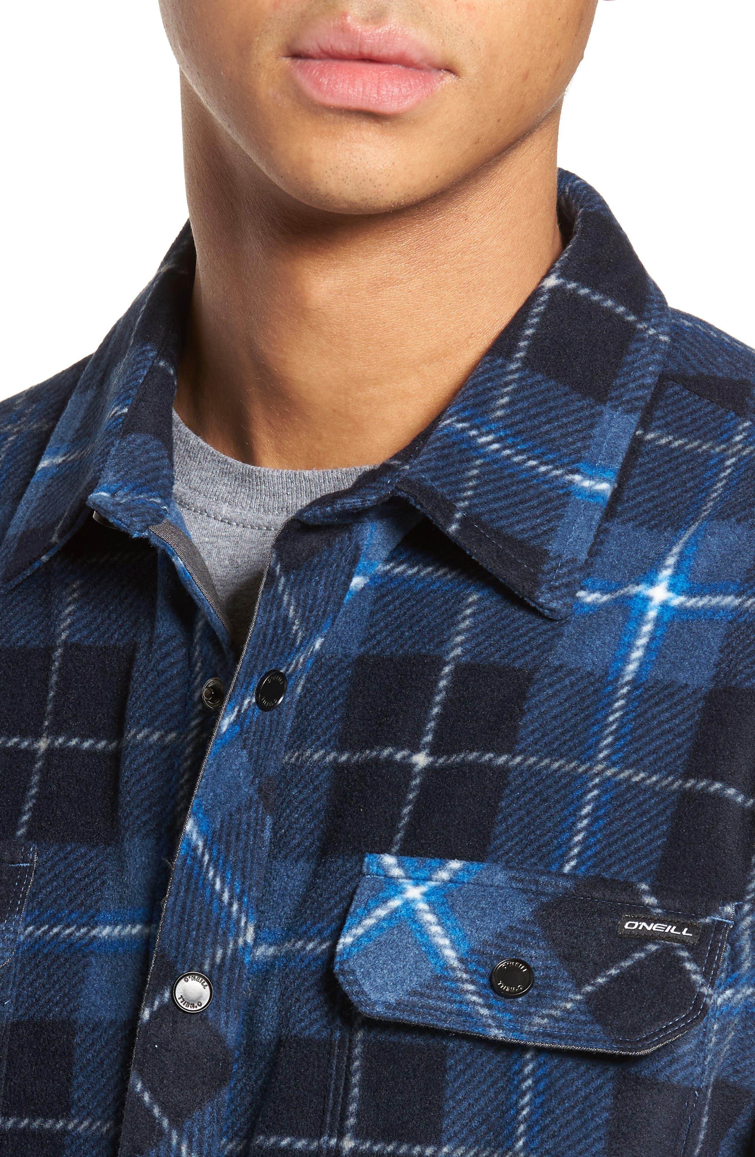 Glacier Plaid Fleece Flannel Shirt,                             Alternate thumbnail 17, color,