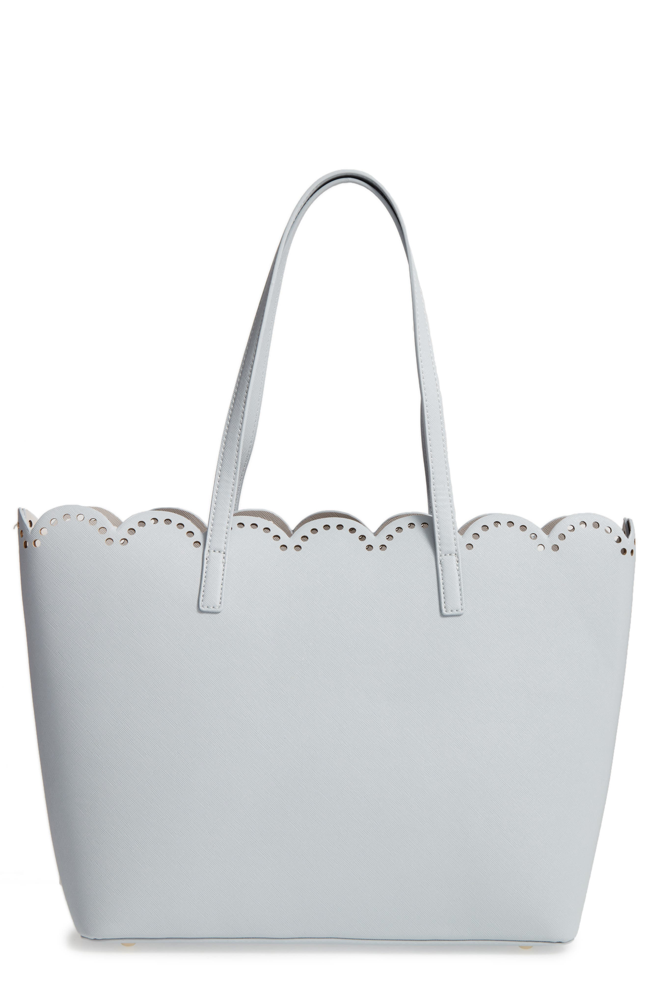 Scalloped Faux Leather Tote,                             Main thumbnail 5, color,