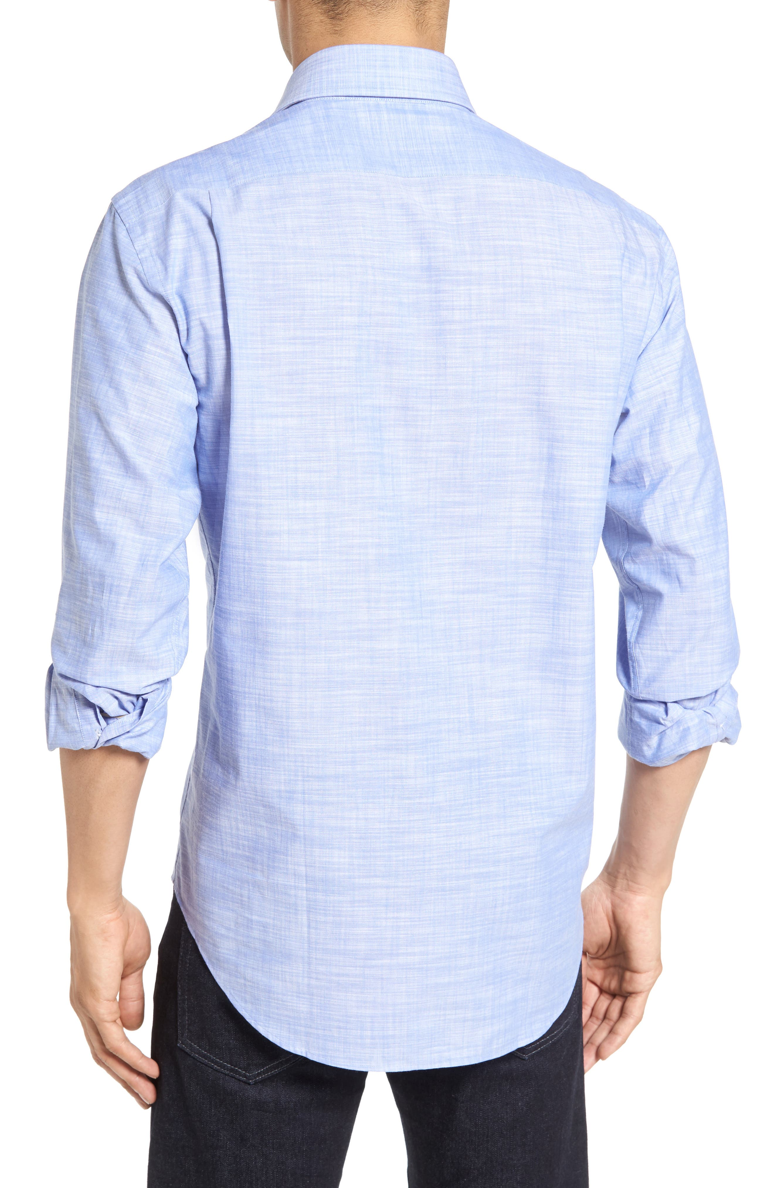 The McDaniel Classic Fit Chambray Sport Shirt,                             Alternate thumbnail 4, color,
