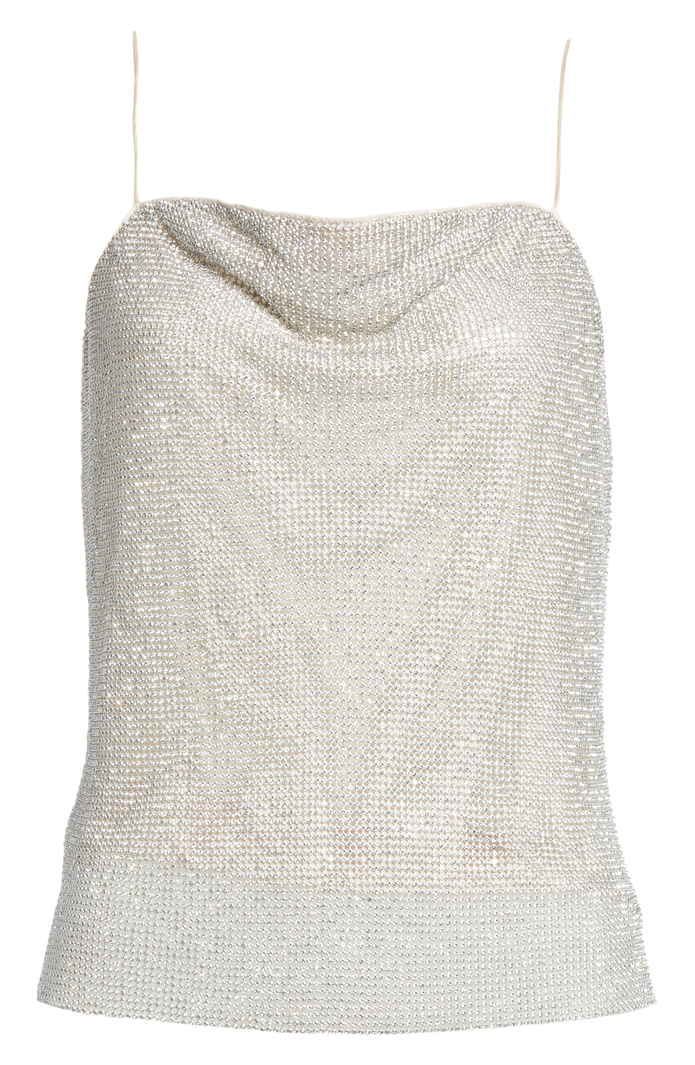 Harmon Crystal Chainmaille Camisole,                             Alternate thumbnail 6, color,                             SILVER/ CHAINMAIL