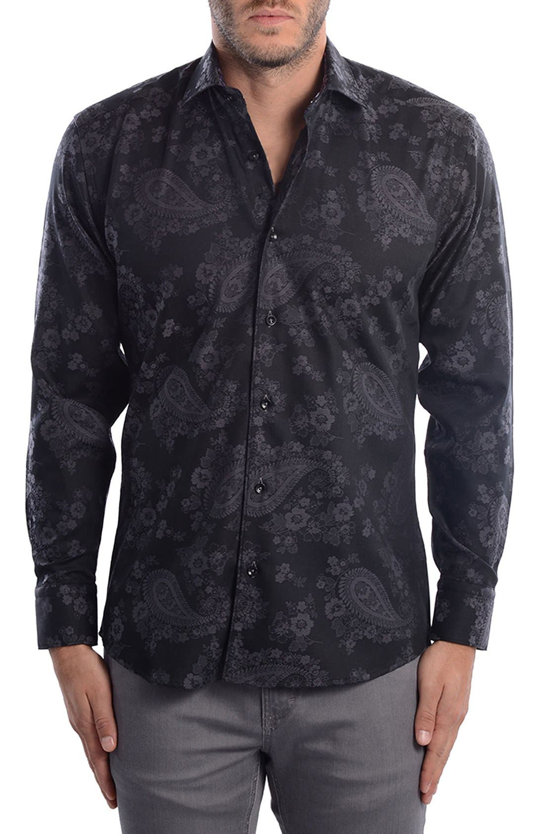 Paisley Modern Fit Sport Shirt,                             Alternate thumbnail 7, color,