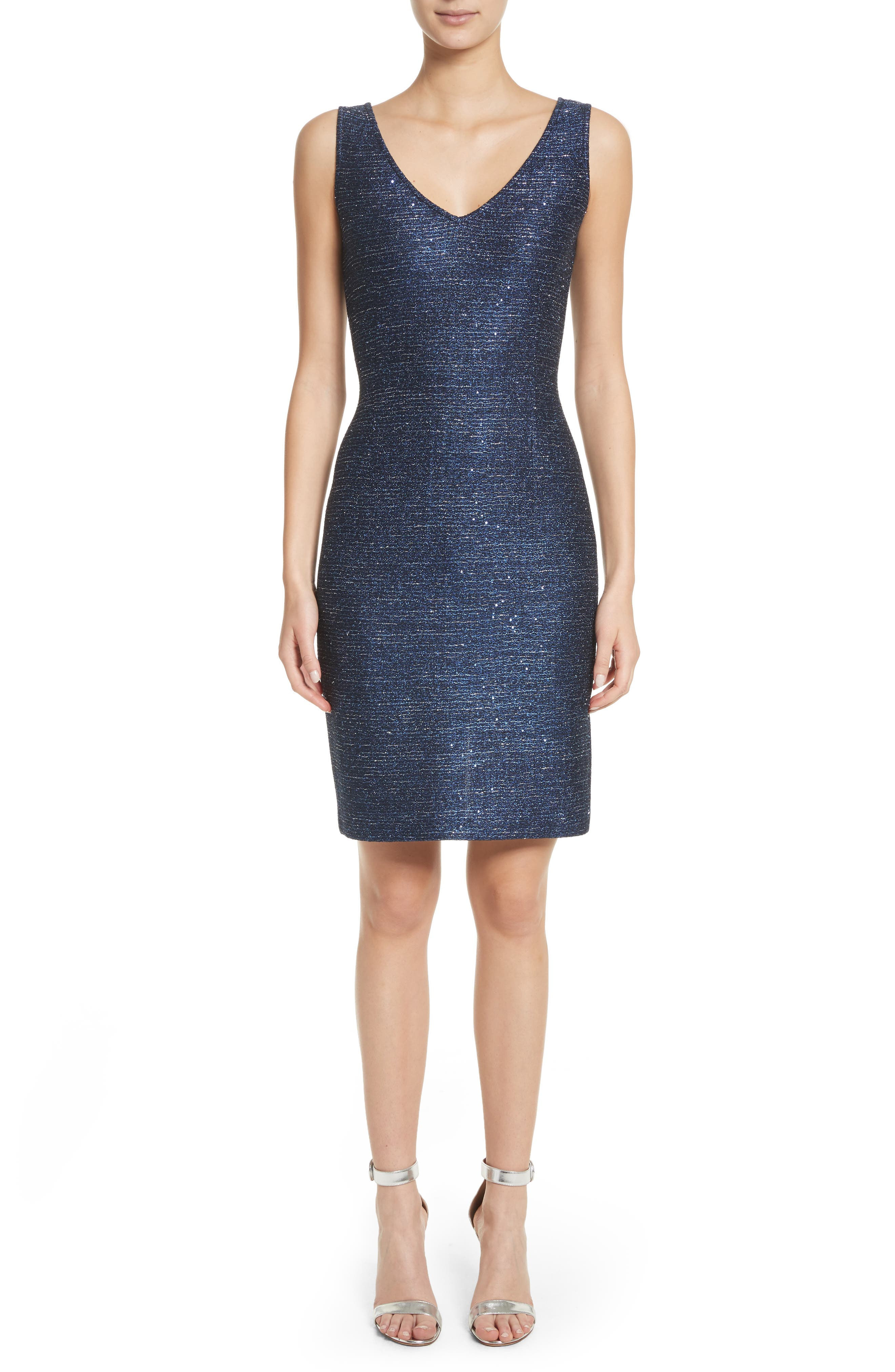 Sparkle Knit Sheath Dress,                         Main,                         color, 410