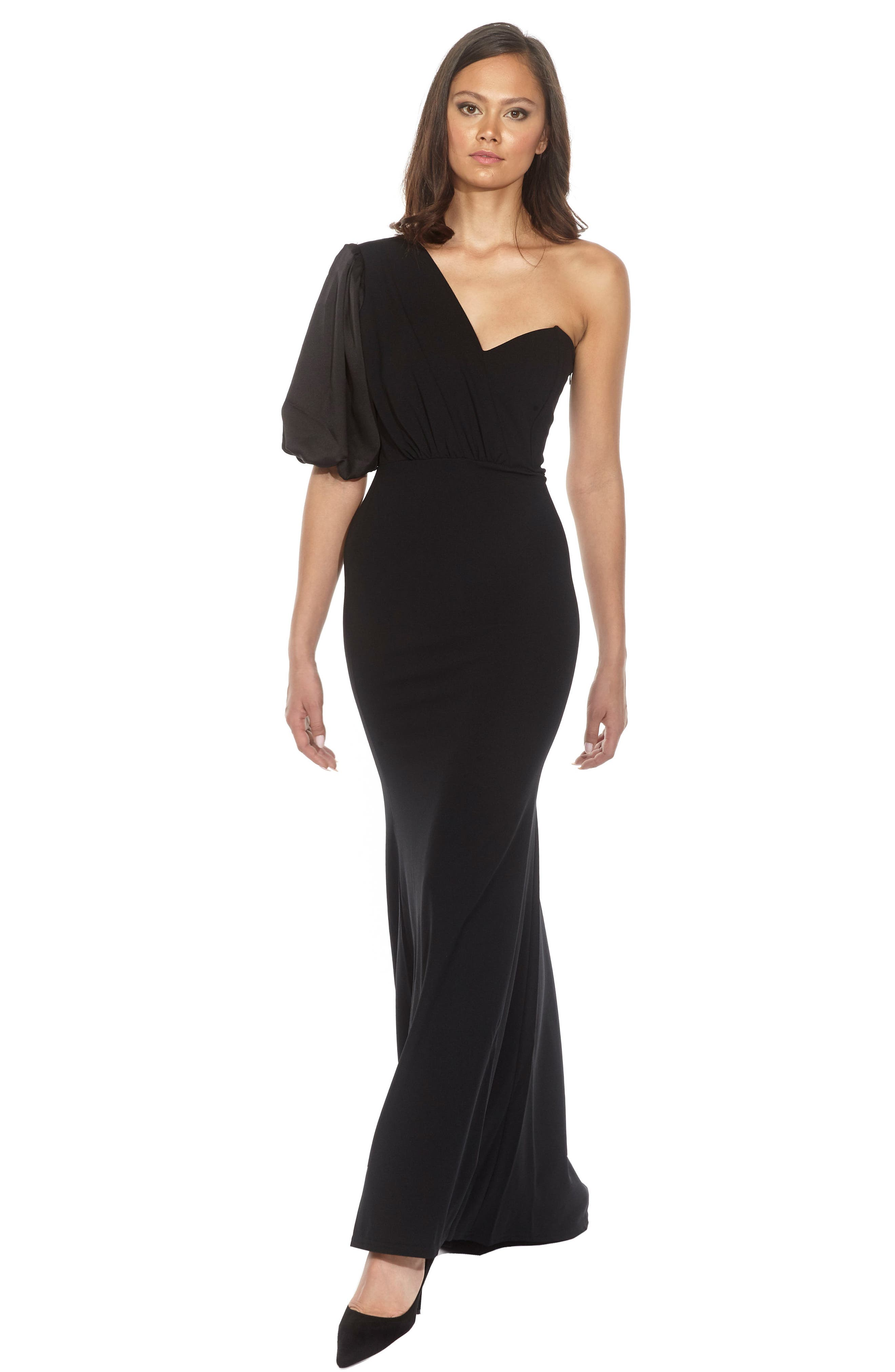 Nawell One-Shoulder Puff Sleeve Gown,                             Alternate thumbnail 3, color,                             001
