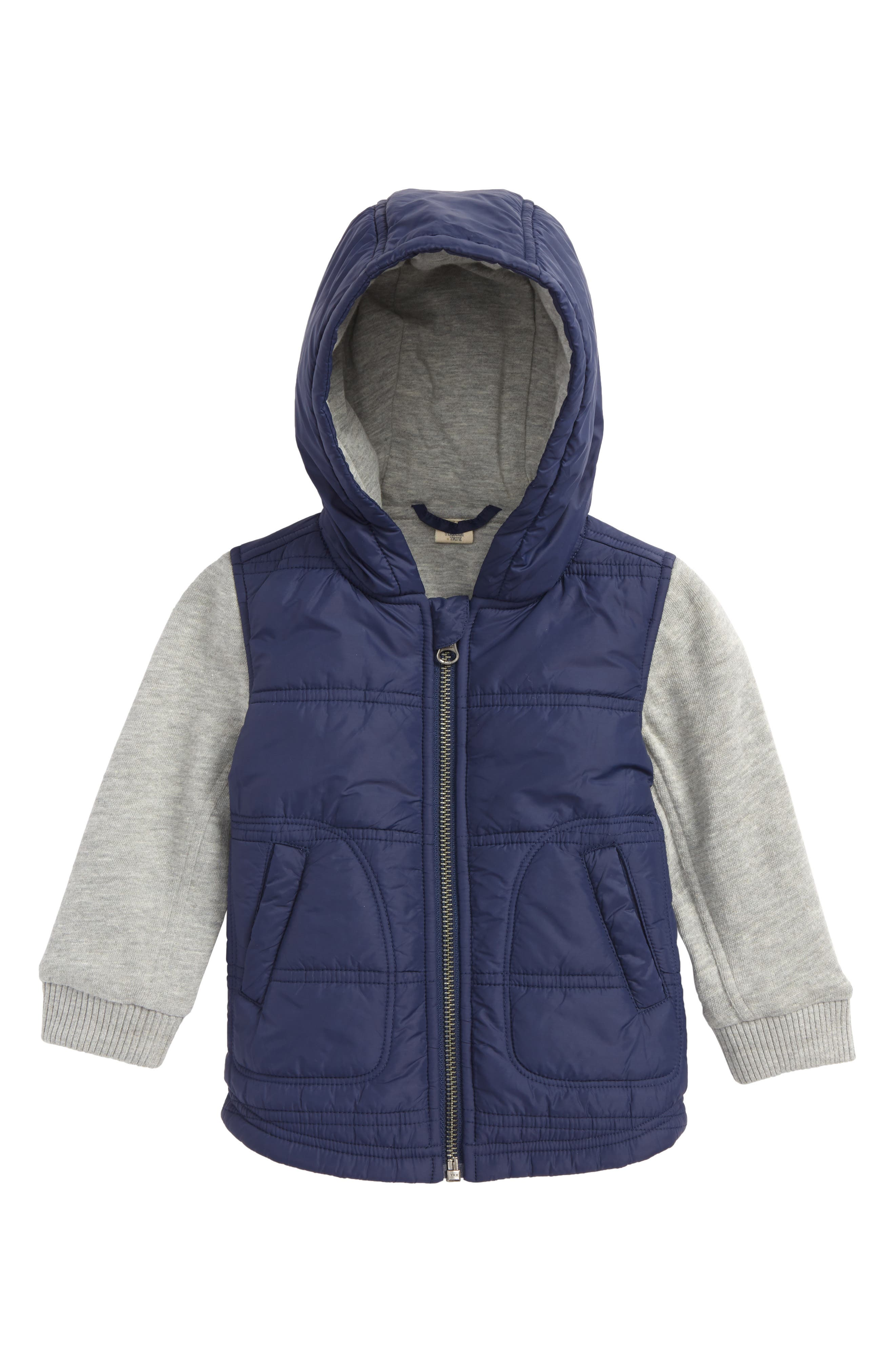 Layer Look Hooded Jacket,                         Main,                         color, NAVY
