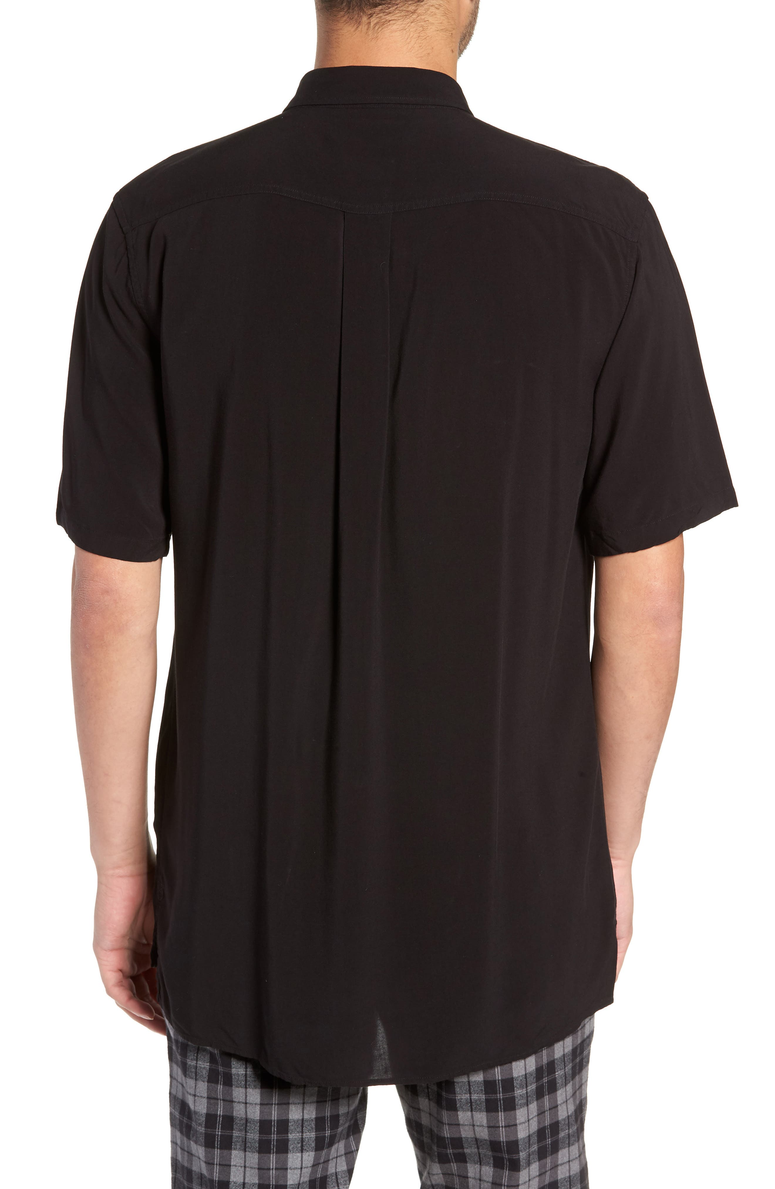 Solid Short Sleeve Shirt,                             Alternate thumbnail 3, color,                             BLACK