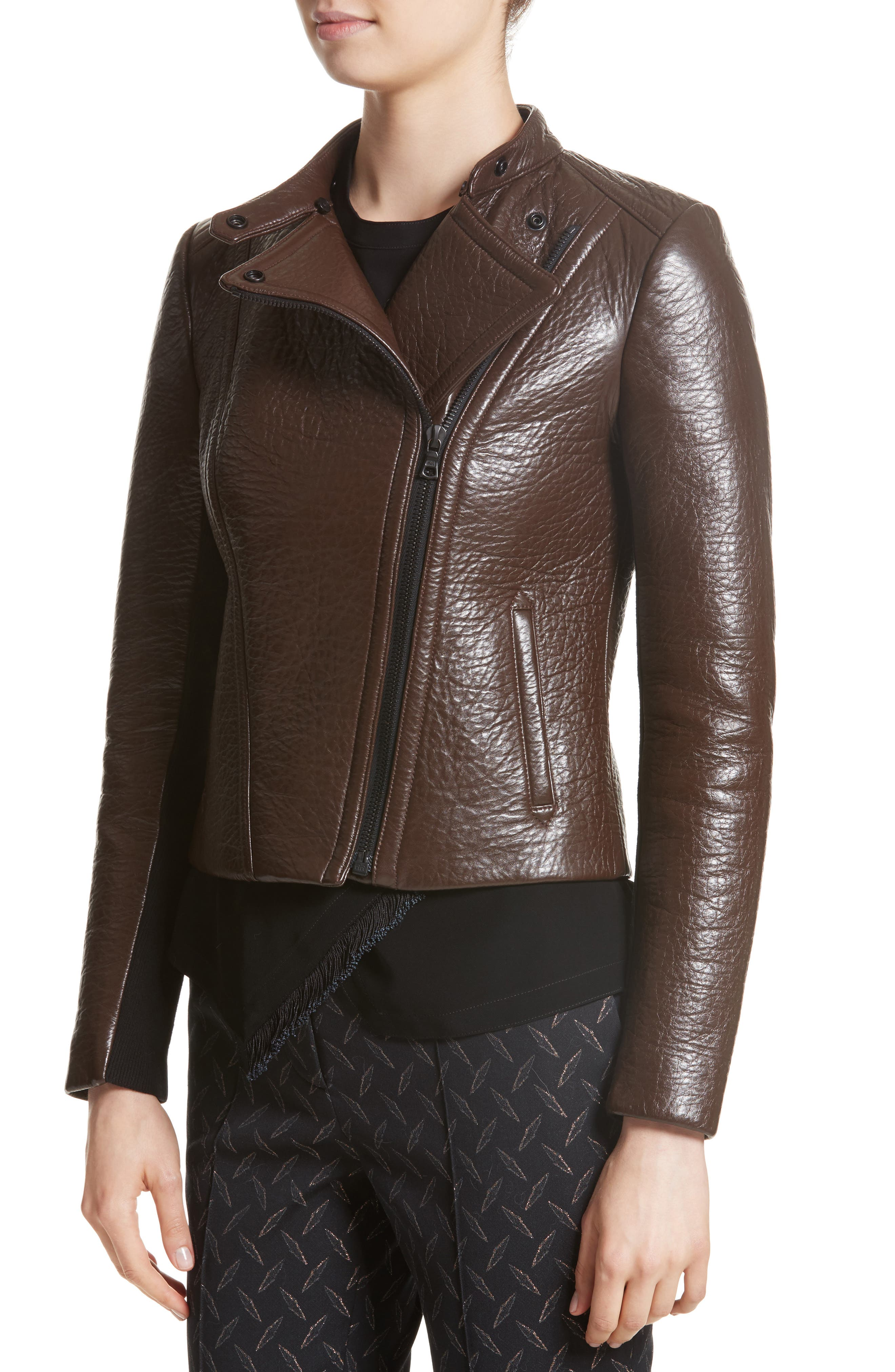 Bonded Moto Leather Jacket with Removable Genuine Fox Fur Collar,                             Alternate thumbnail 4, color,                             219