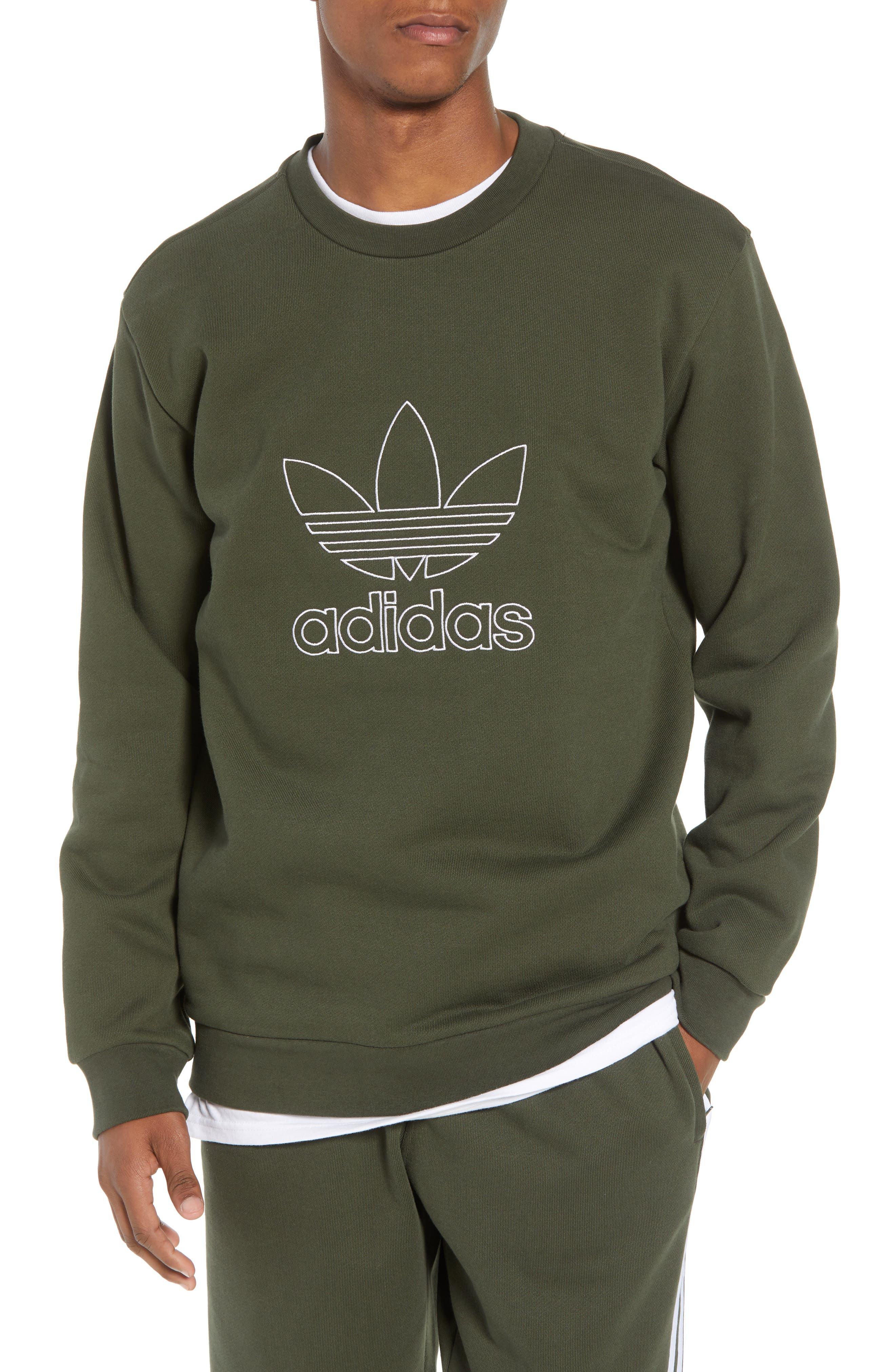 adidas Outline Trefoil Crewneck Sweatshirt,                         Main,                         color, 307