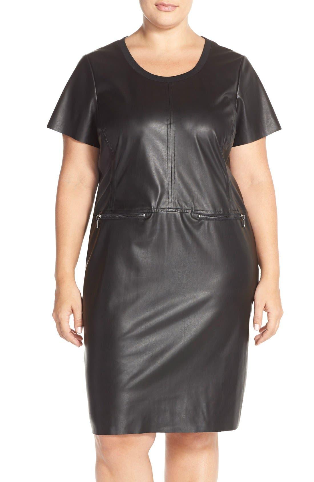 JUNAROSE 'Kanya' Faux Leather Shift Dress, Main, color, 001