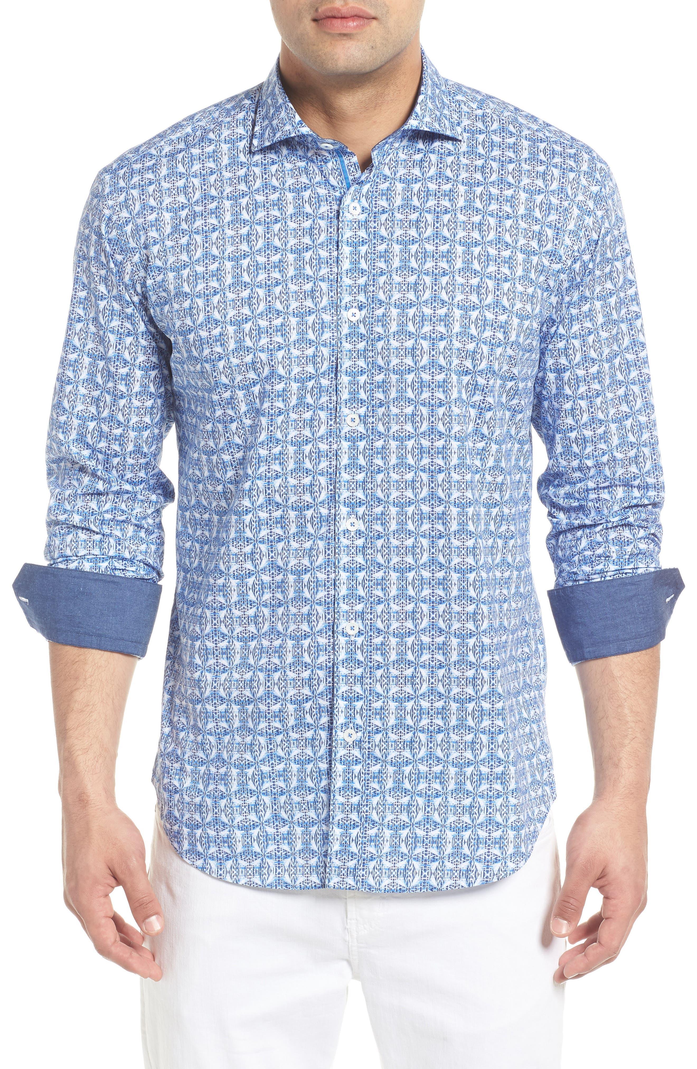 Shaped Fit Abstract Print Sport Shirt,                             Main thumbnail 1, color,                             422