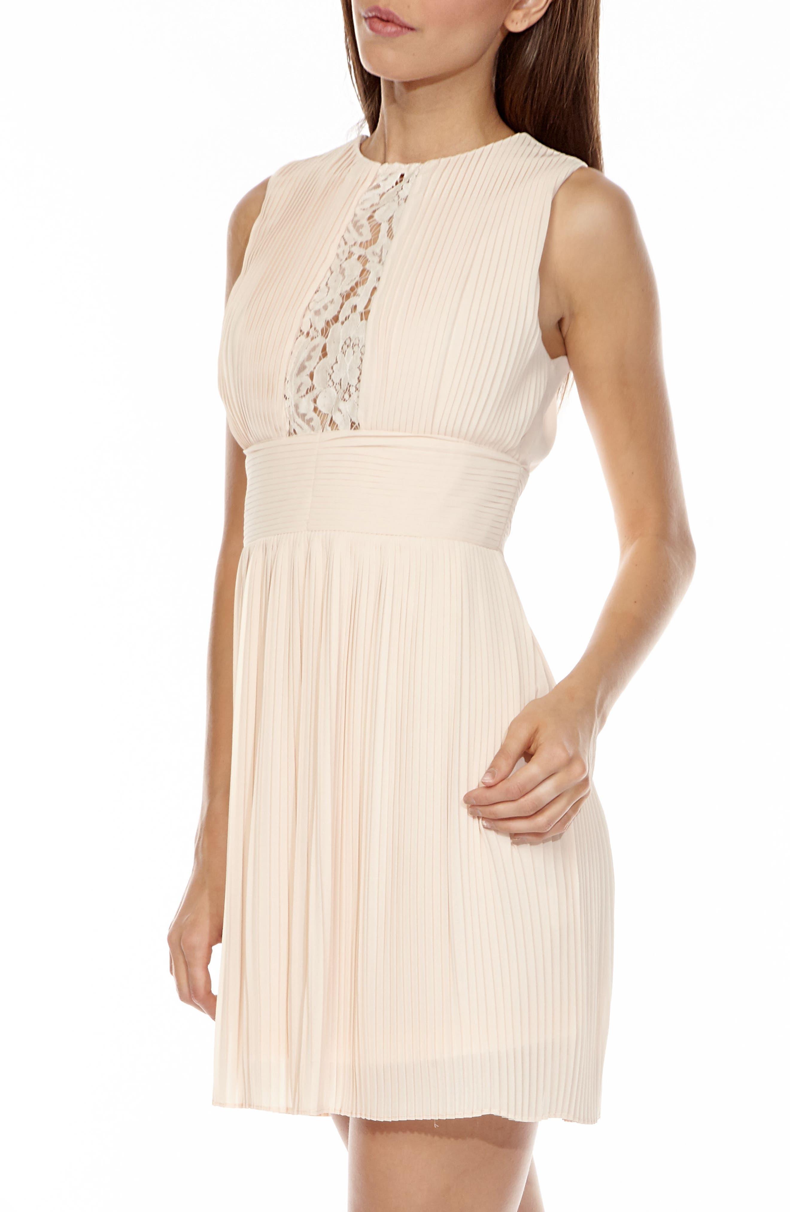 Dori Pleat Chiffon Fit & Flare Dress,                             Alternate thumbnail 3, color,                             680