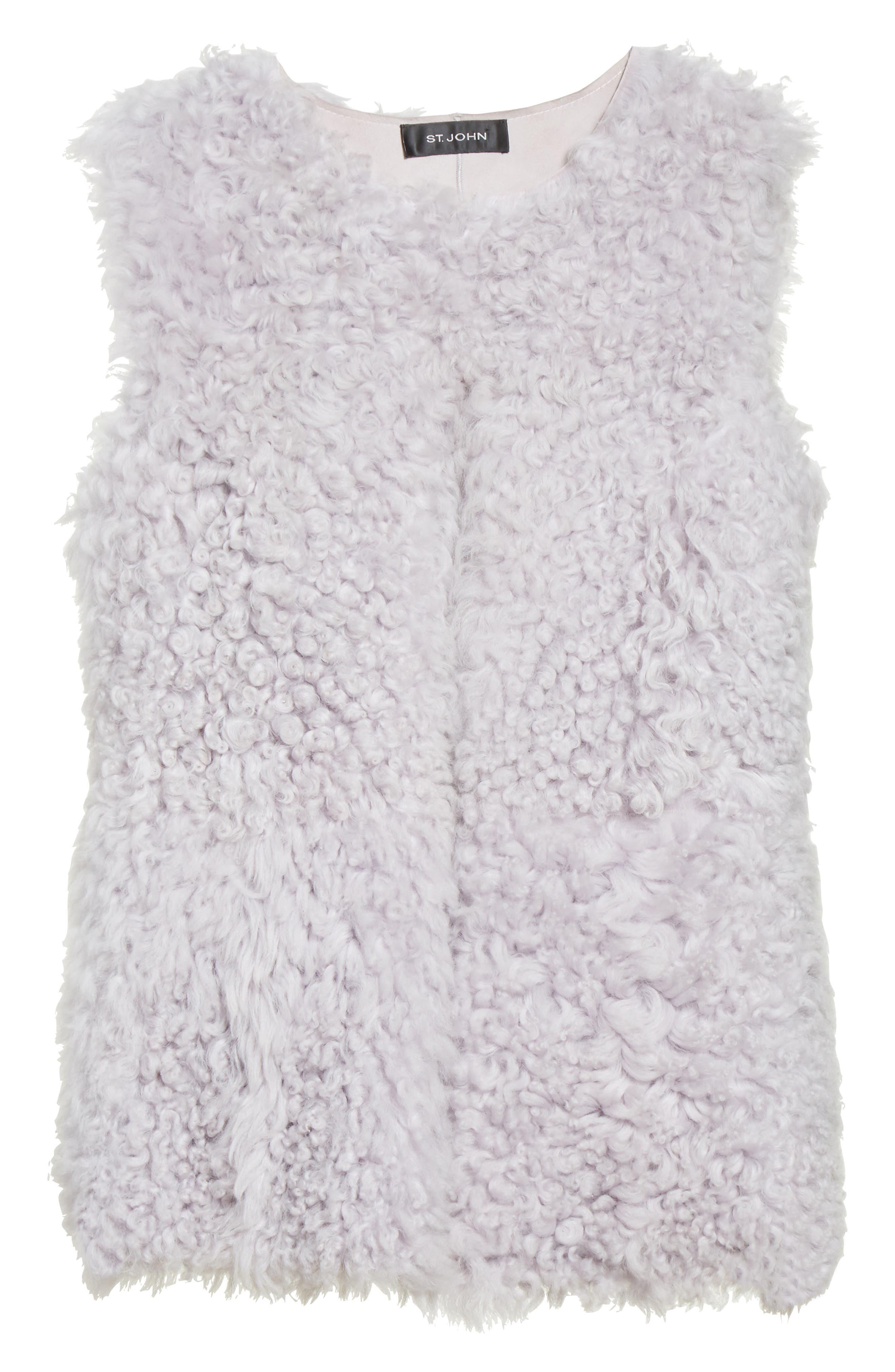 St John Collection Reversible Genuine Curly Lamb Fur Vest,                             Alternate thumbnail 6, color,                             500