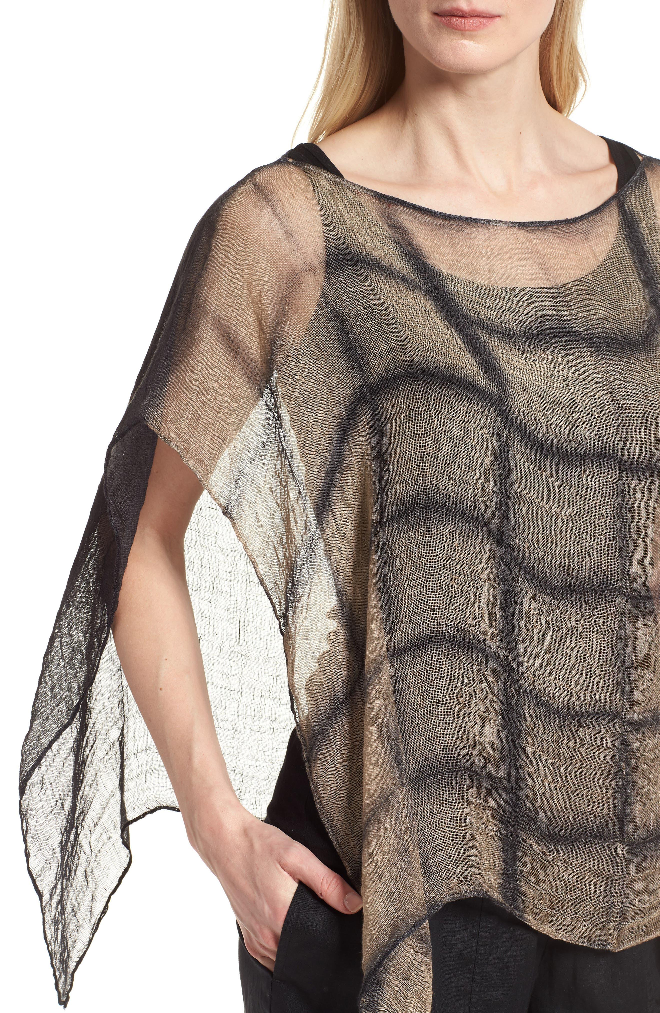 Organic Linen Poncho,                             Alternate thumbnail 4, color,                             001
