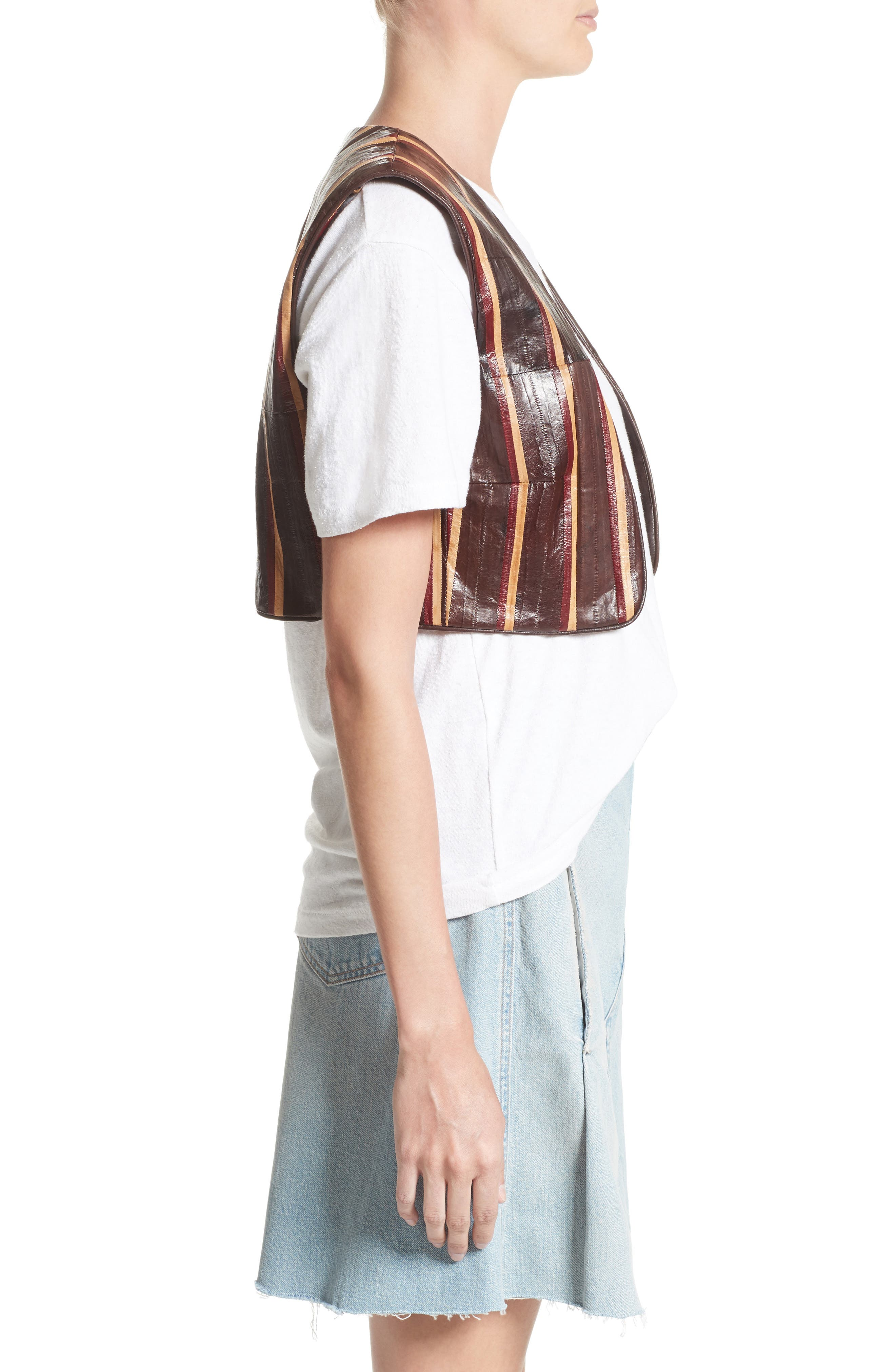 Striped Genuine Eelskin Vest,                             Alternate thumbnail 3, color,                             200