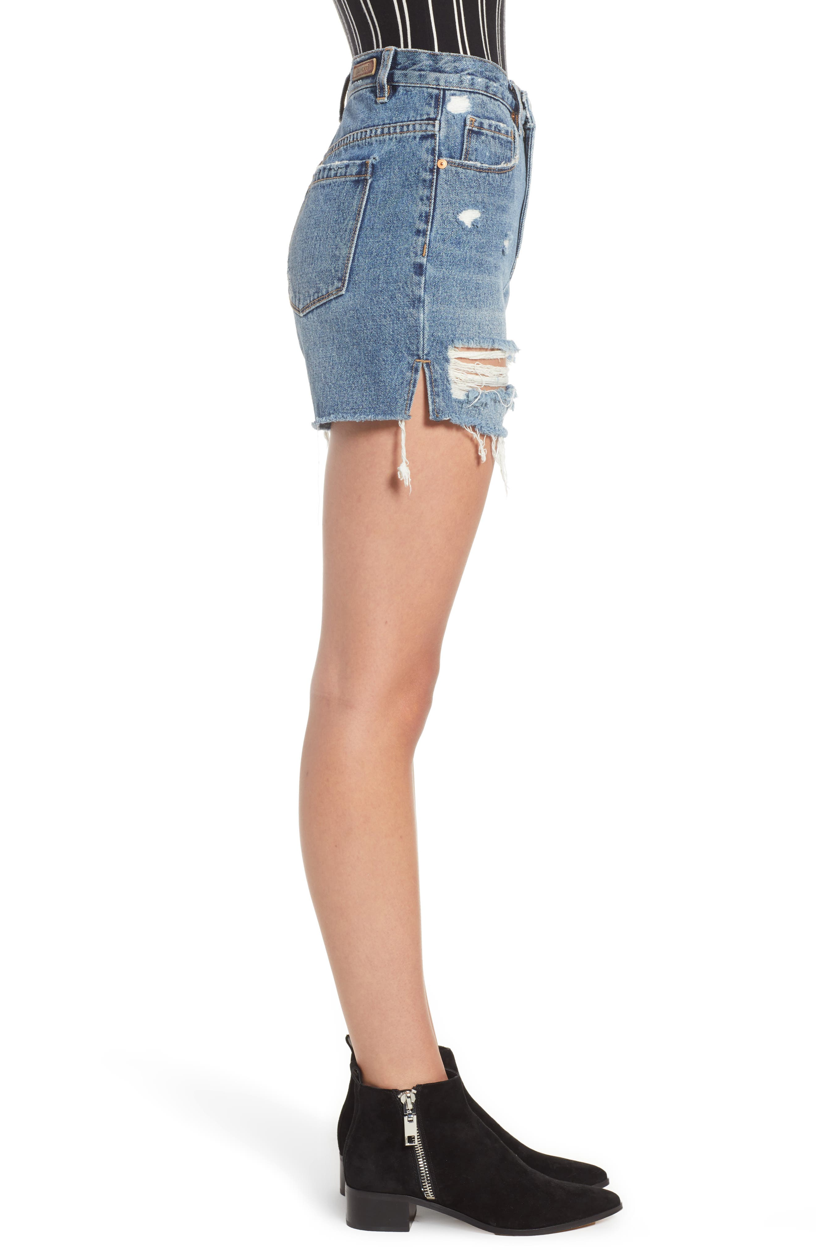 Ripped High Waist Denim Mom Shorts,                             Alternate thumbnail 3, color,                             CYBER HOARDER