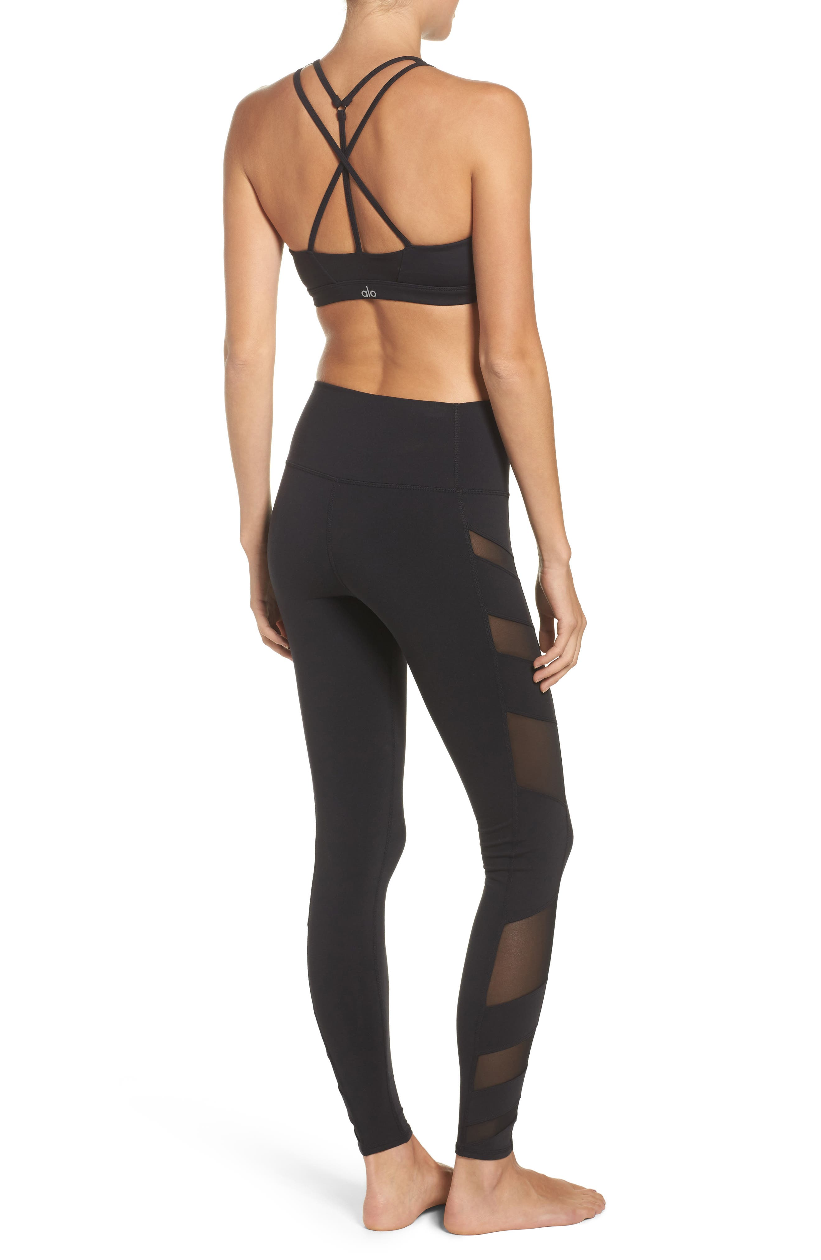Block High Waist Mesh Inset Leggings,                             Alternate thumbnail 9, color,                             001