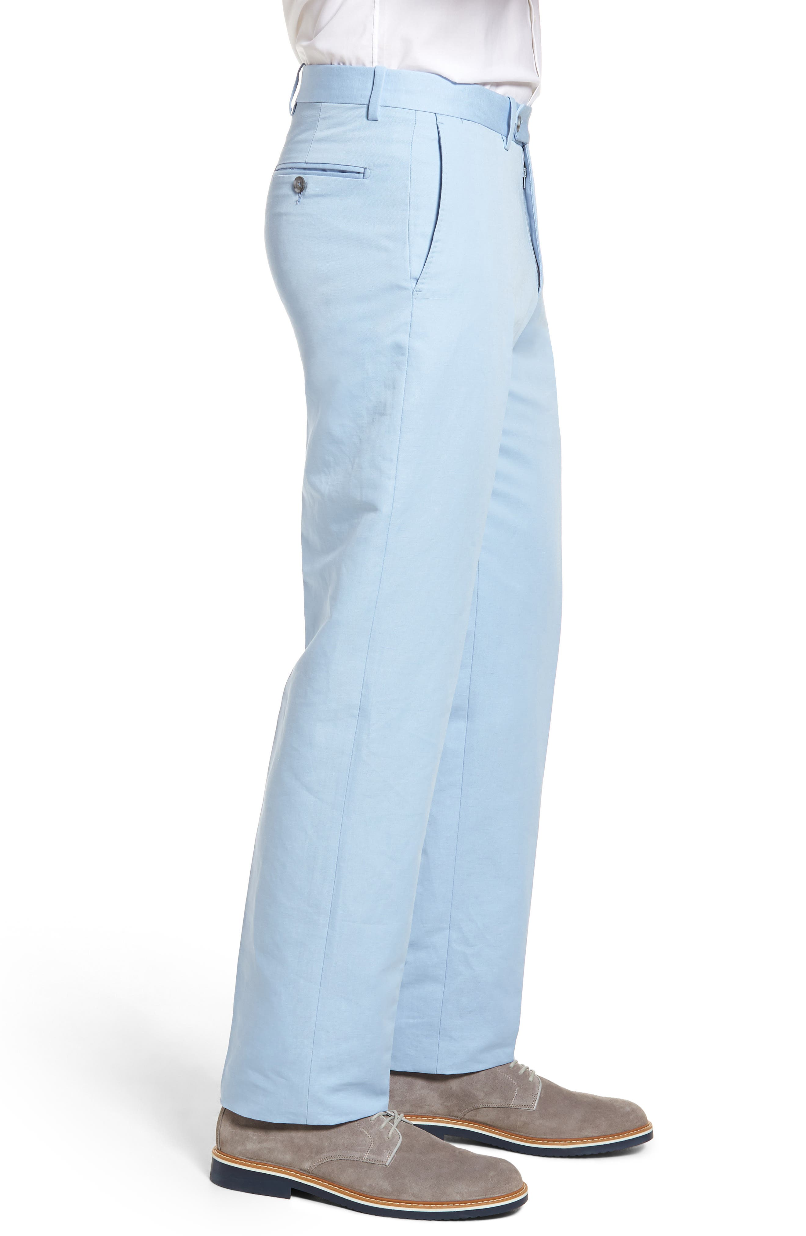 Flat Front Solid Cotton & Linen Trousers,                             Alternate thumbnail 15, color,