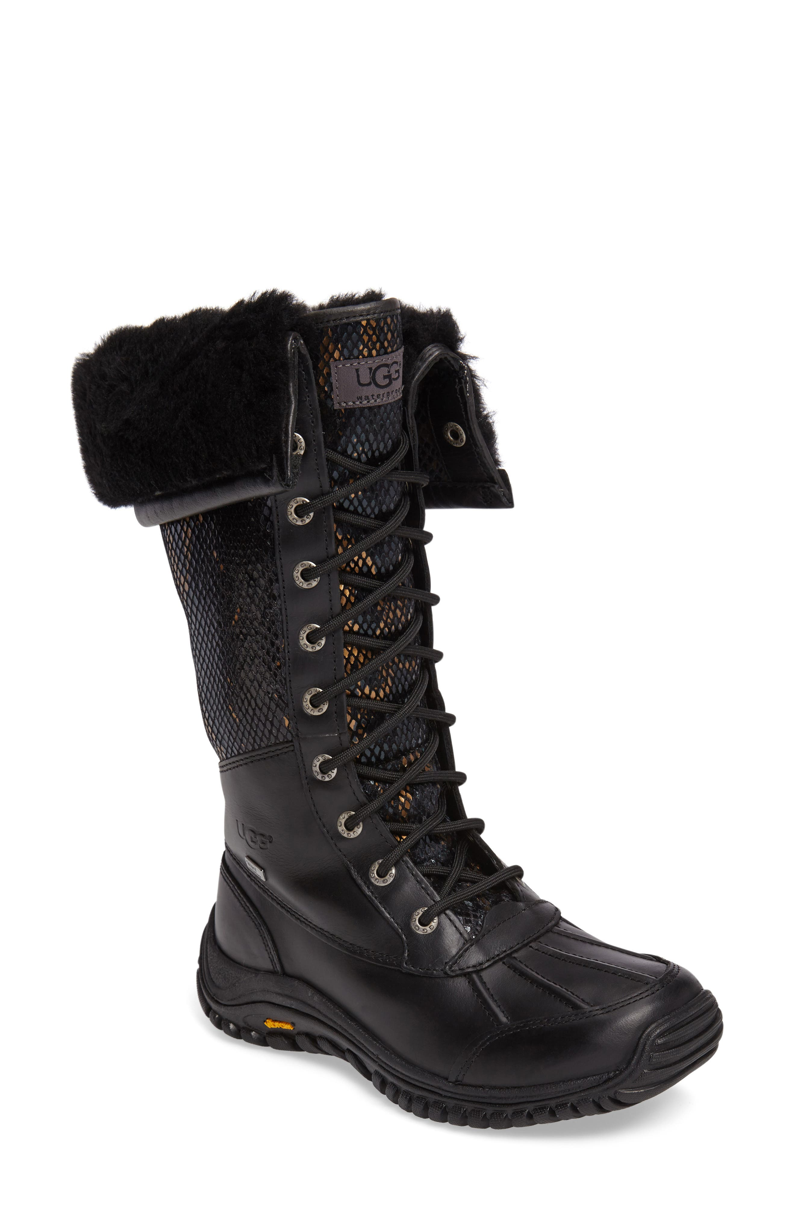 UGG<SUP>®</SUP> Adirondack Tall Exotic Velvet Waterproof Winter Boot, Main, color, 001