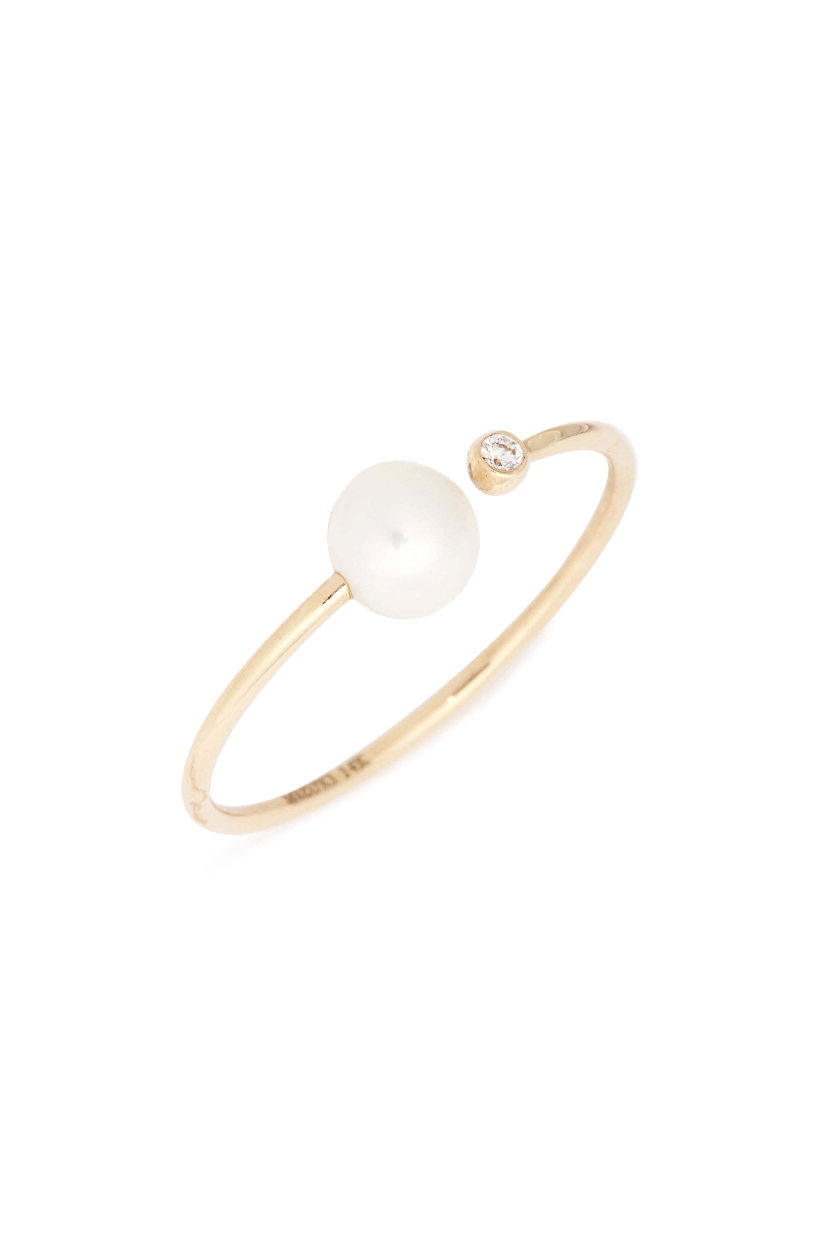Sea of Beauty Pearl & Diamond Open Stack Ring,                             Main thumbnail 1, color,                             YELLOW GOLD/ WHITE PEARL