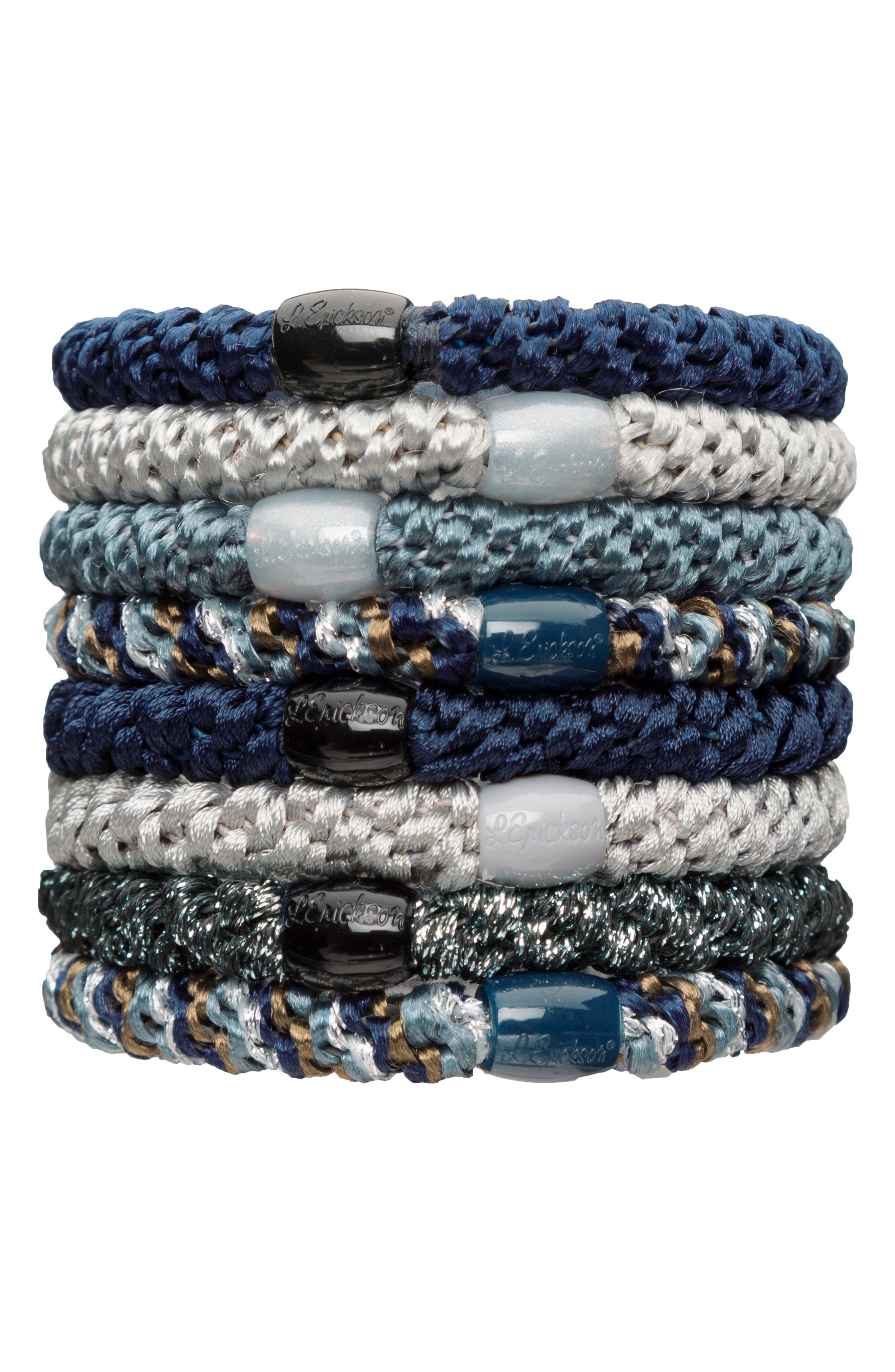 Ponytail Holders,                         Main,                         color, BLUE JEAN